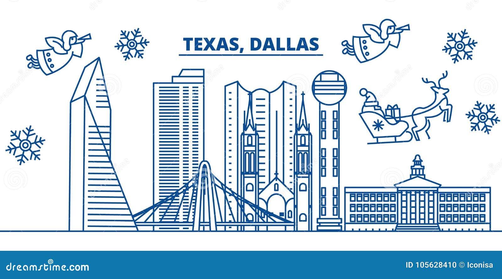 De horizon van de de winterstad van de V.S., Texas, Dallas Vrolijke Kerstmis en Gelukkige Nieuwjaar verfraaide banner De kaart va