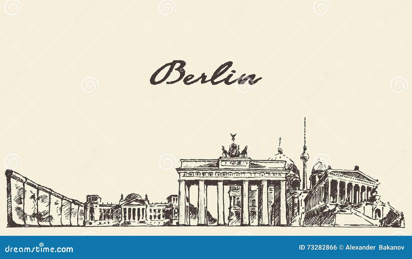 De horizon vectorillustratie getrokken schets van Berlijn