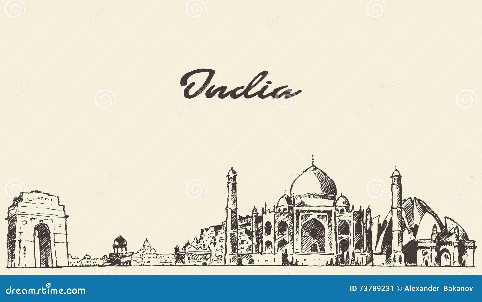De horizon vectorillustratie getrokken schets van India