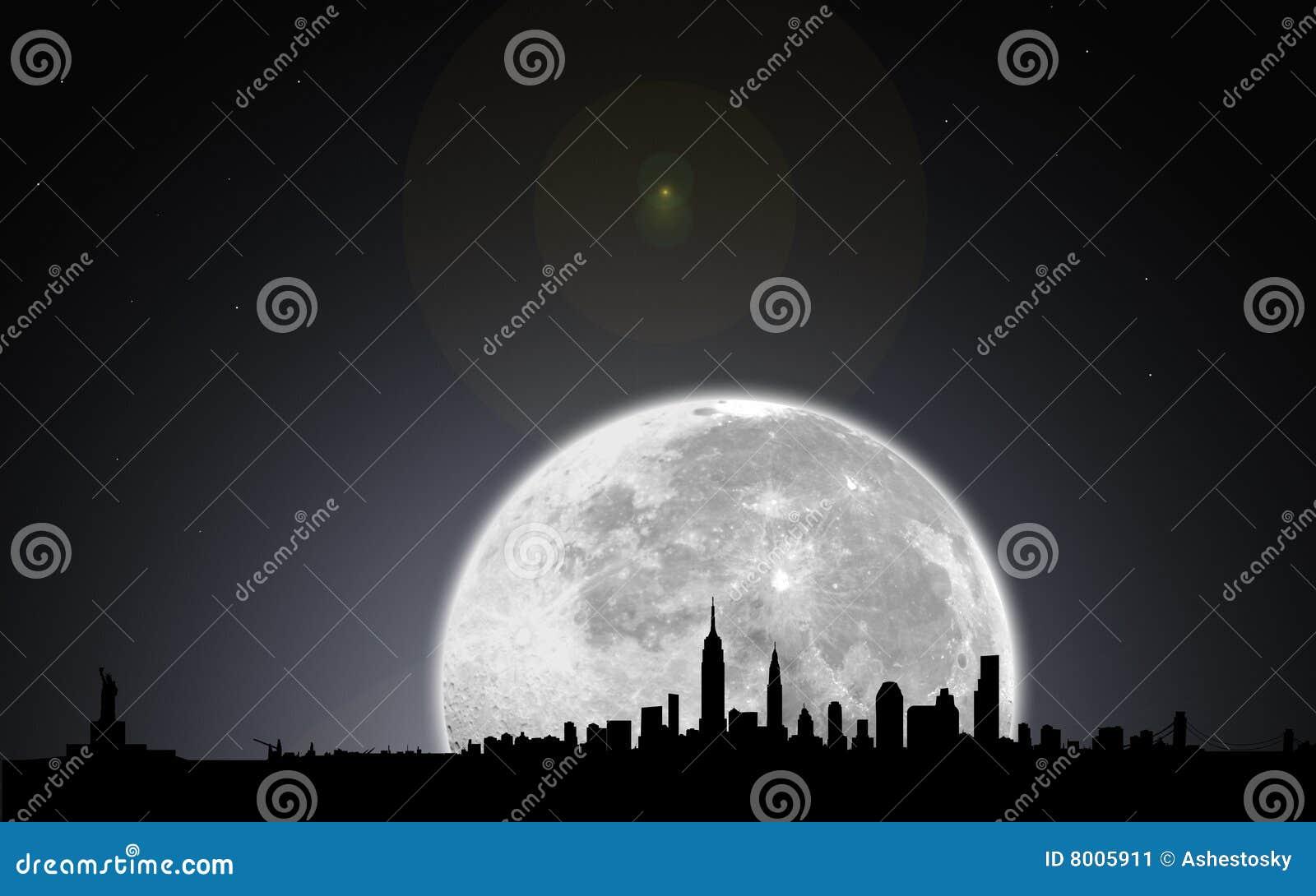 De horizonnacht van New York met maan