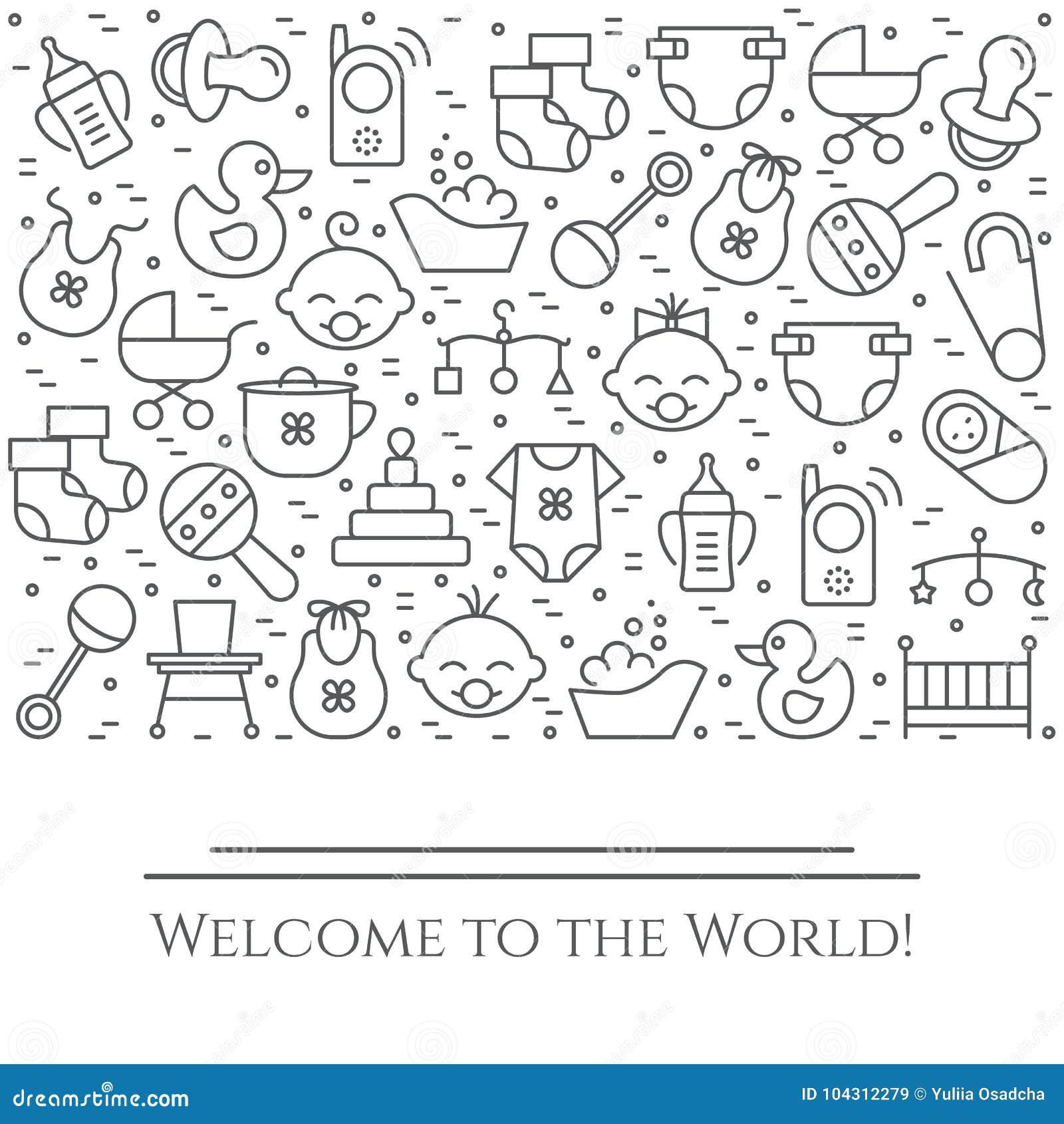 De horizontale banner van het babythema Pictogrammen van baby, kinderwagen, voederbak, mobiel, speelgoed, rammelaar, fles, luier,