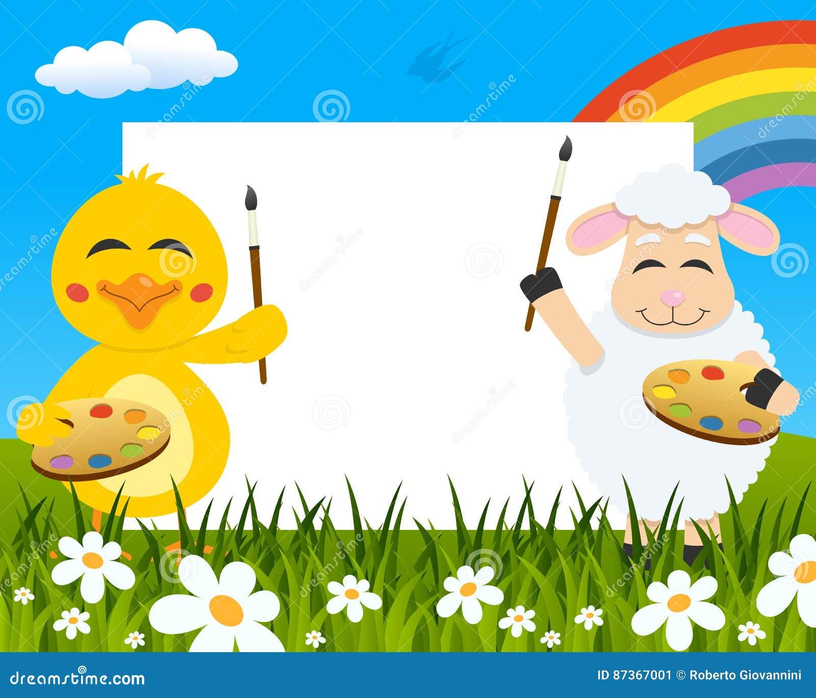 De Horizontale Schilders van Pasen - Kuiken & Lam