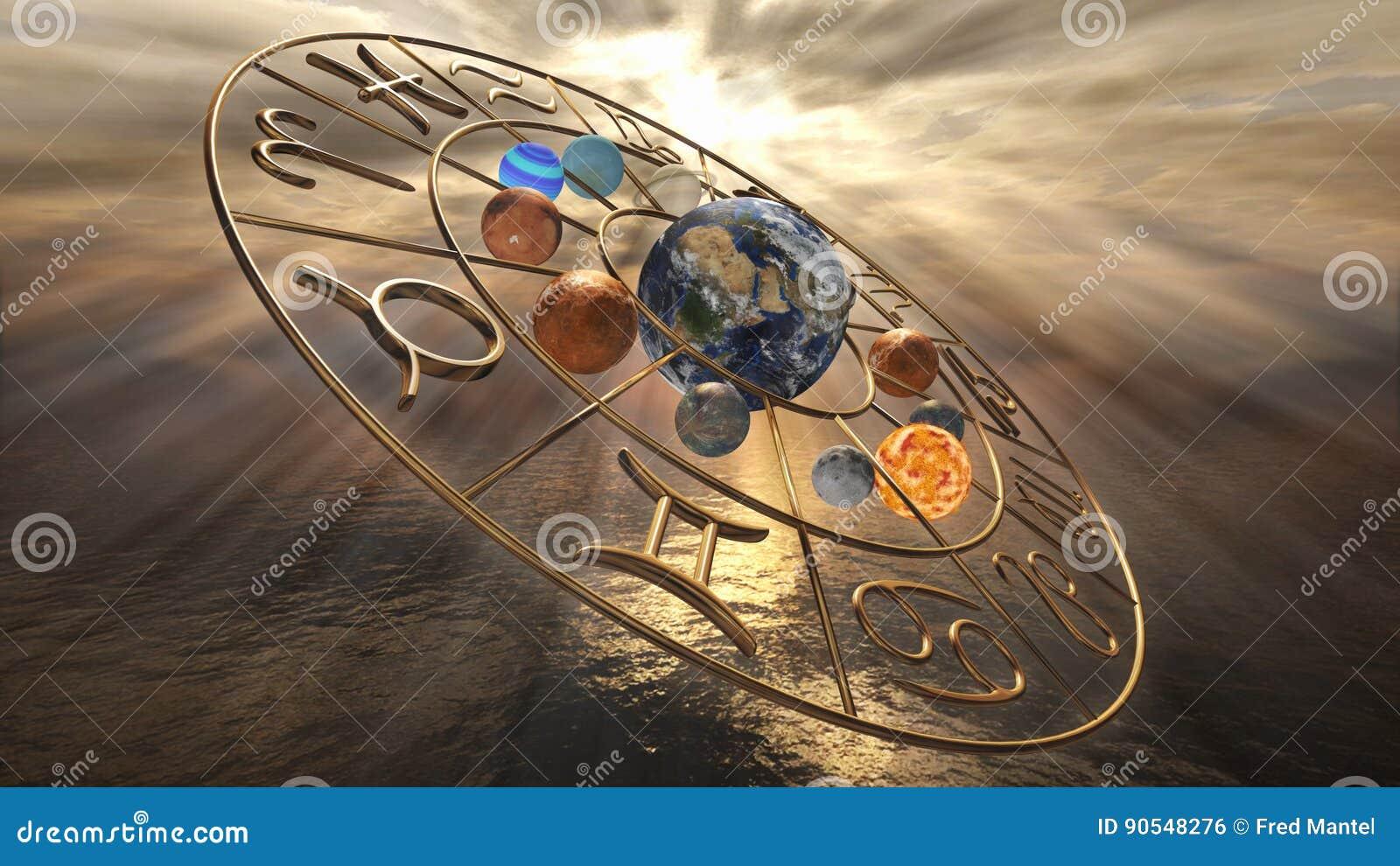 De horoscoopsymbool van de mysticus gouden dierenriem met twaalf planeten het 3d teruggeven