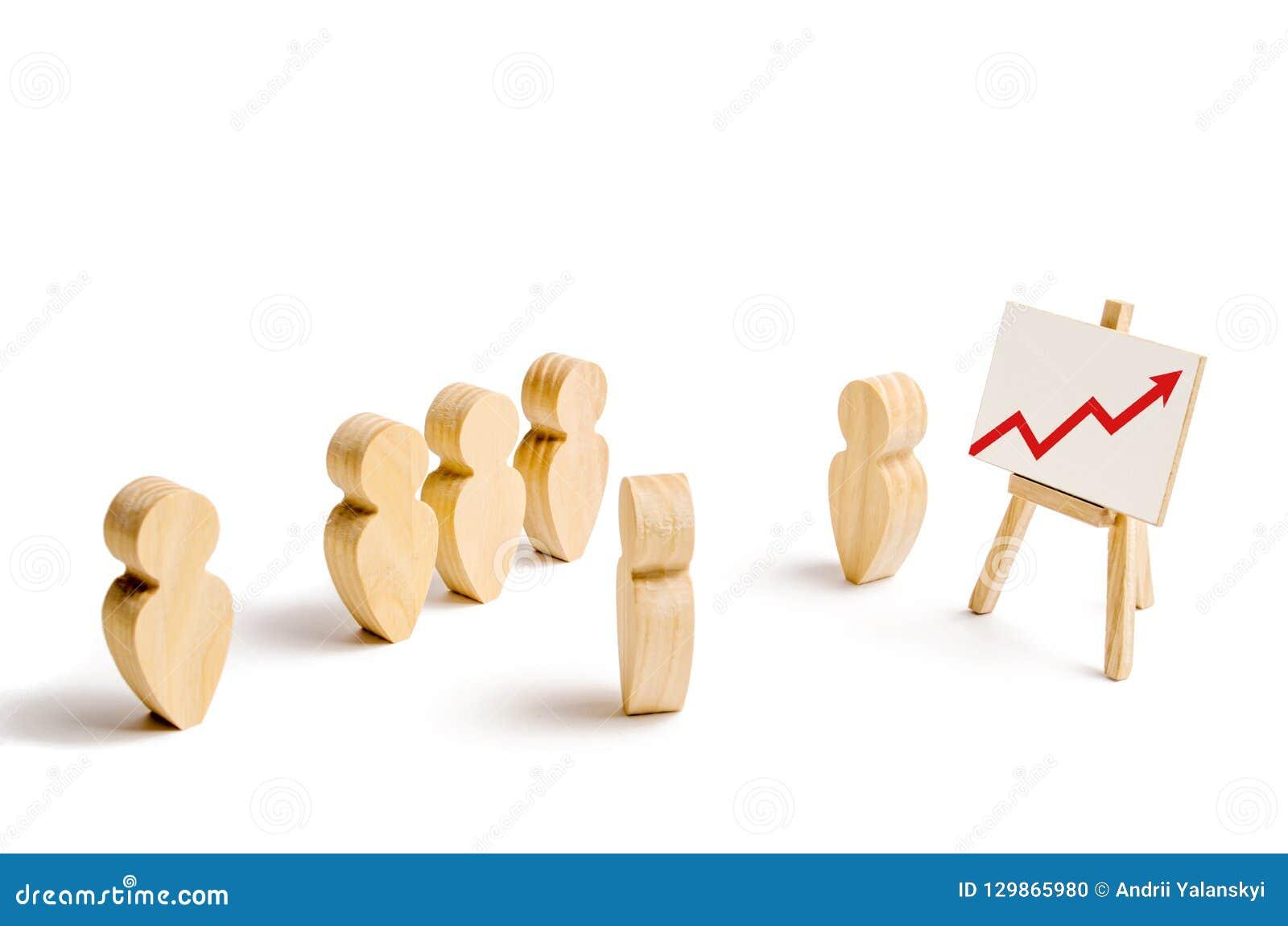 De houten cijfers van mensen bevinden zich in de vorming en luisteren aan hun leider Bedrijfs opleiding, het informeren en inspir