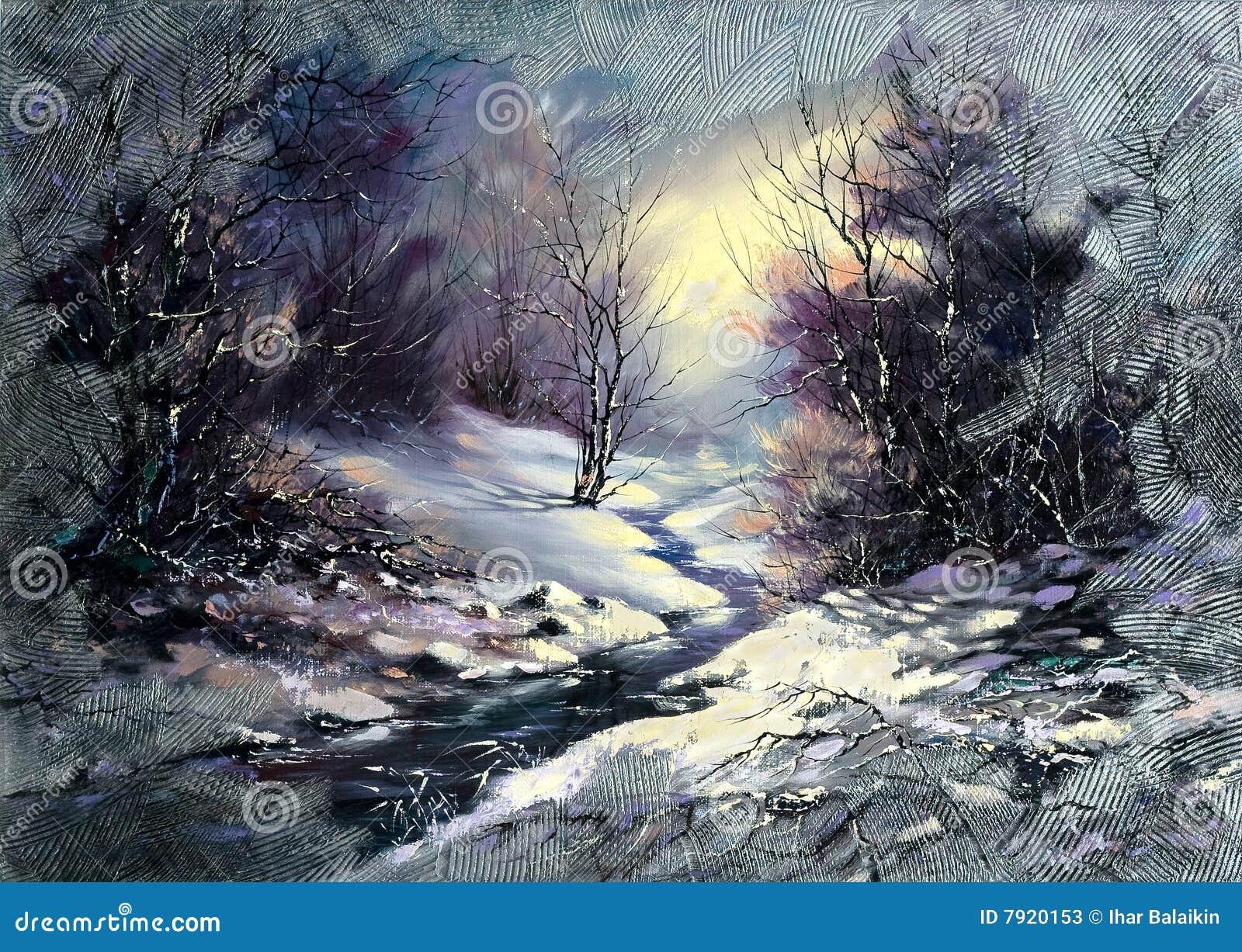 De houten kleine rivier van de winter
