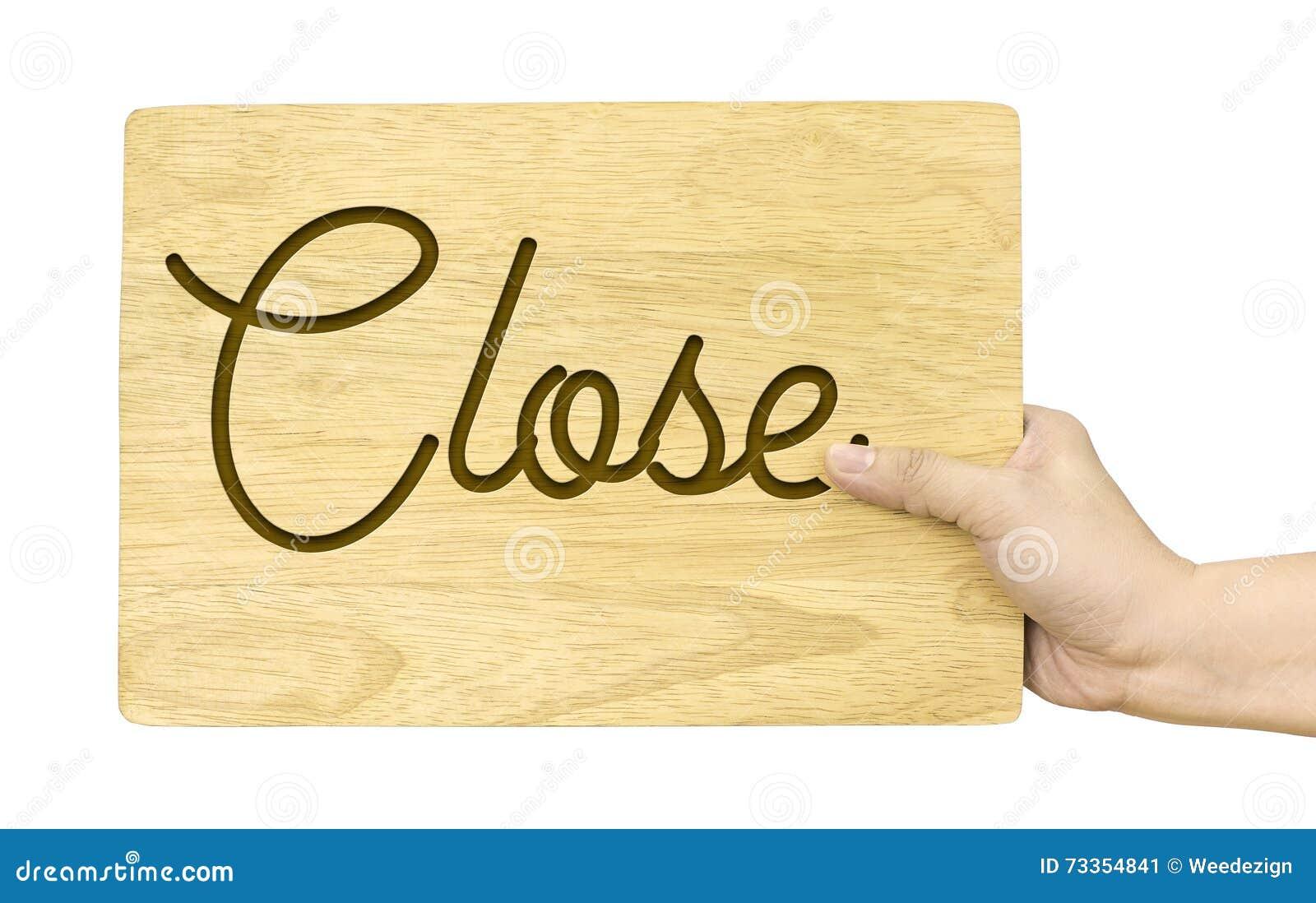 De houten plaat van de handholding met Dicht die woord op witte backgr wordt geïsoleerd
