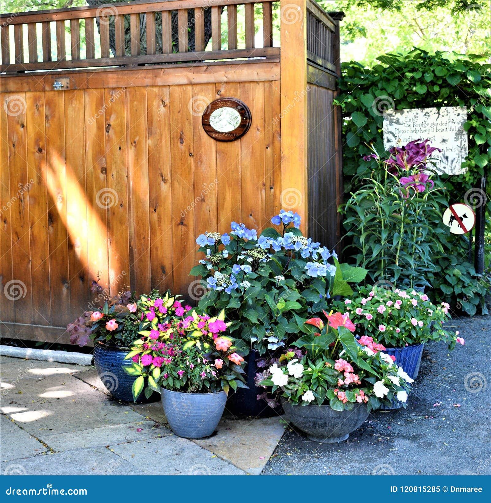 De houten structuur bij ingang aan Brug van Fowers, Shelburne valt, Franklin County, Massacusetts, Verenigde Staten, de V.S.