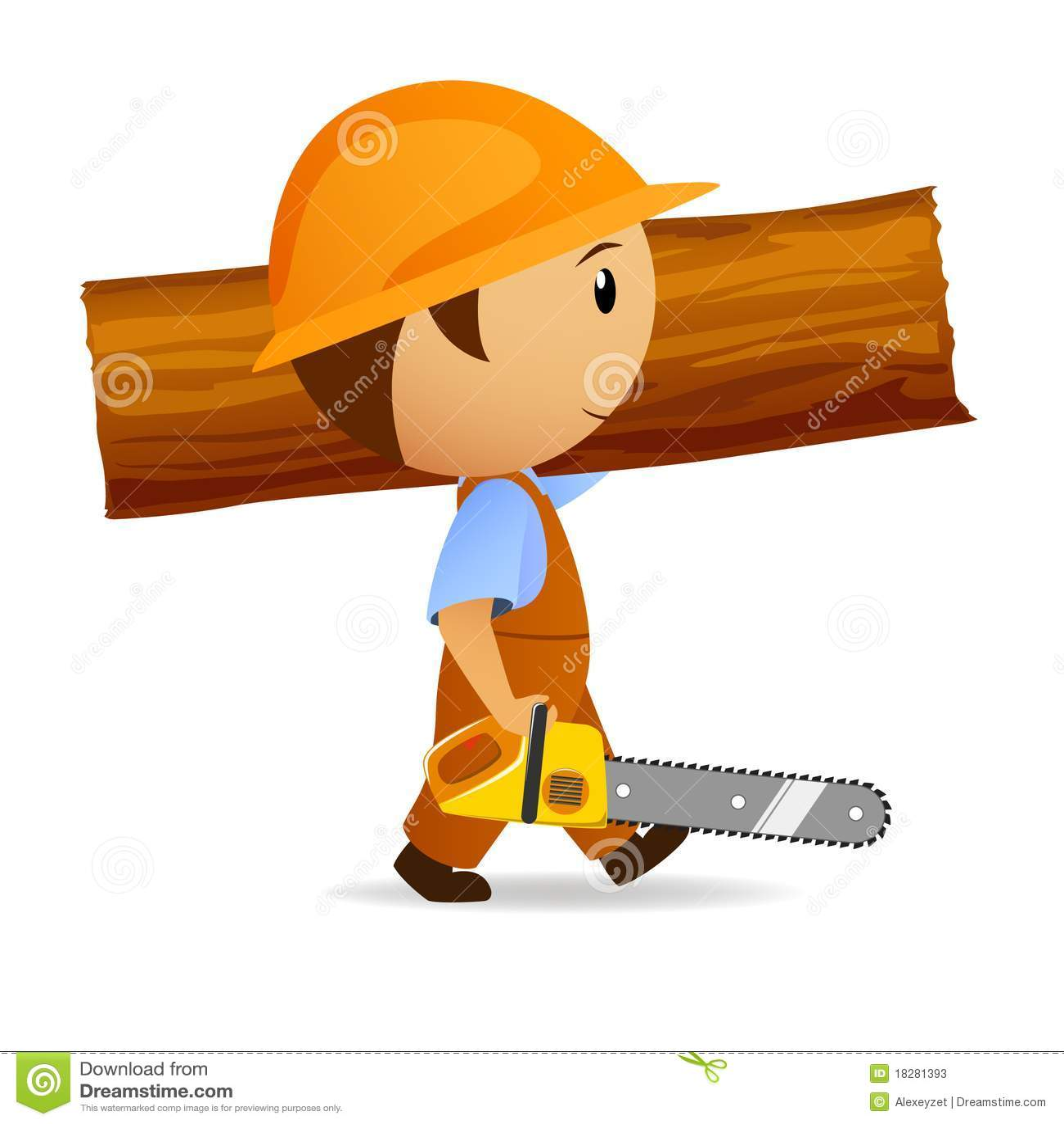 De houthakker van het beeldverhaal met kettingzaag en boomstam