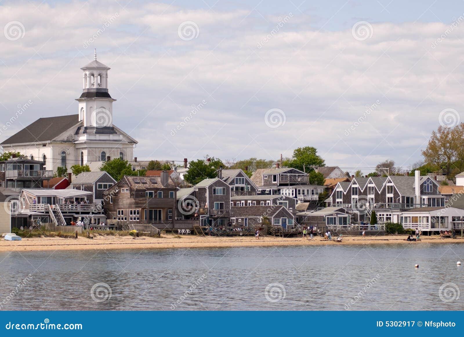 De huizen van Beachfront in Provincetown, de Kabeljauw van de Kaap