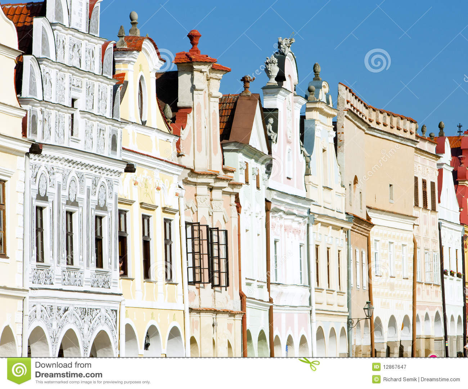 De huizen van de renaissance in telc stock afbeelding afbeelding 12867647 - Huizen van de wereldbank ...