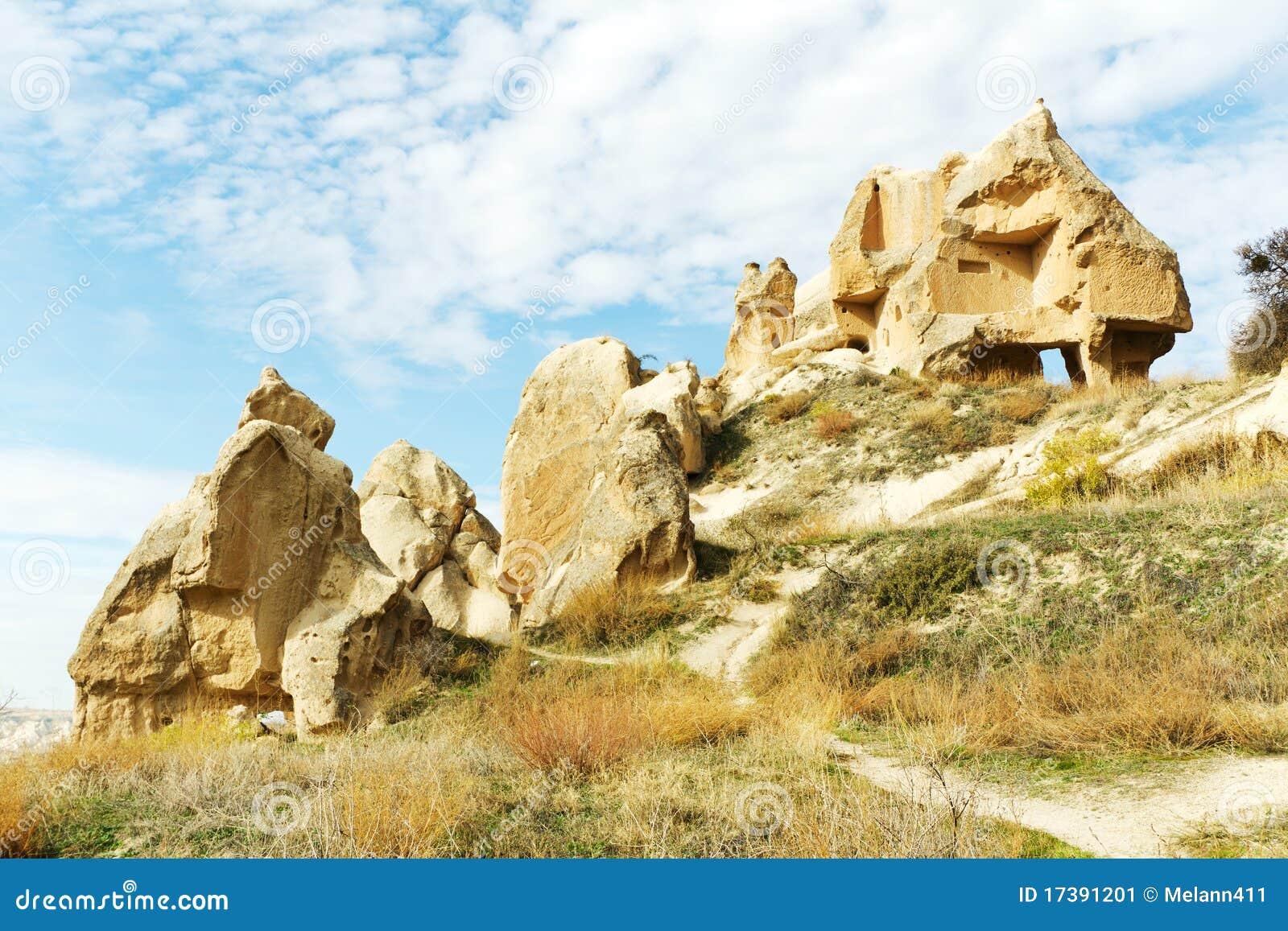 De huizen van de rots in cappadocia turkije stock afbeelding afbeelding 17391201 - Huizen van de wereldbank ...
