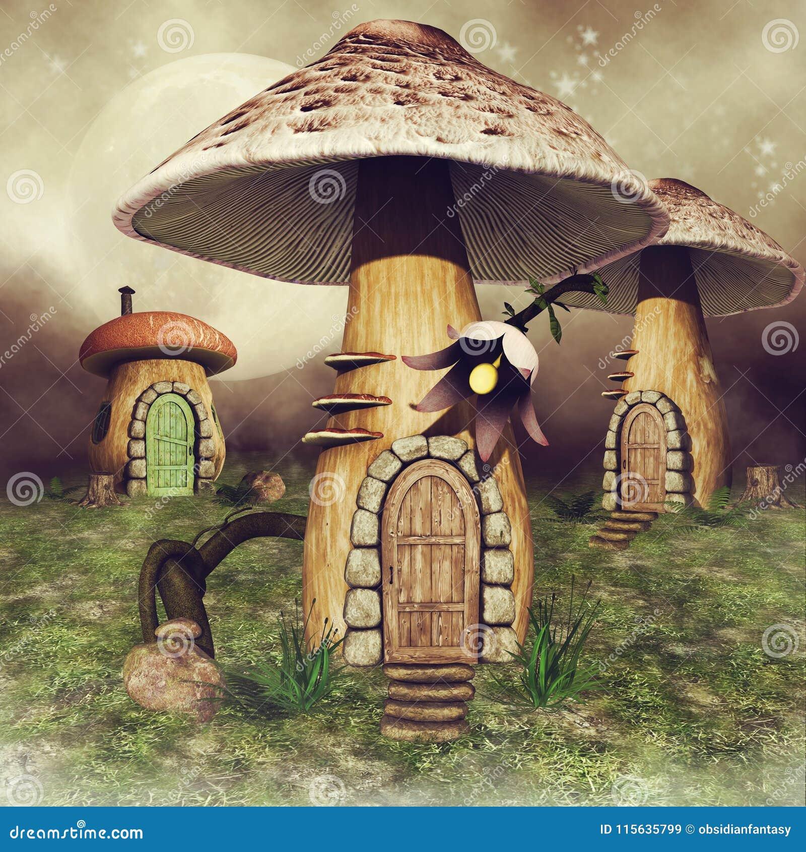 De huizen van de paddestoelfee op een weide