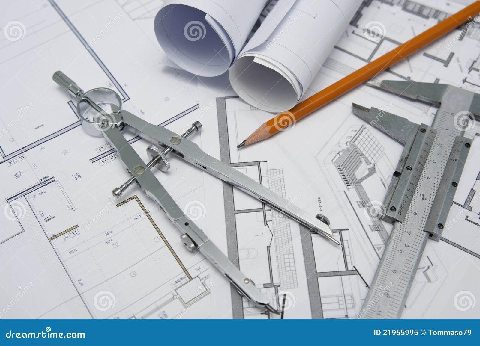 De hulpmiddelen van de architect