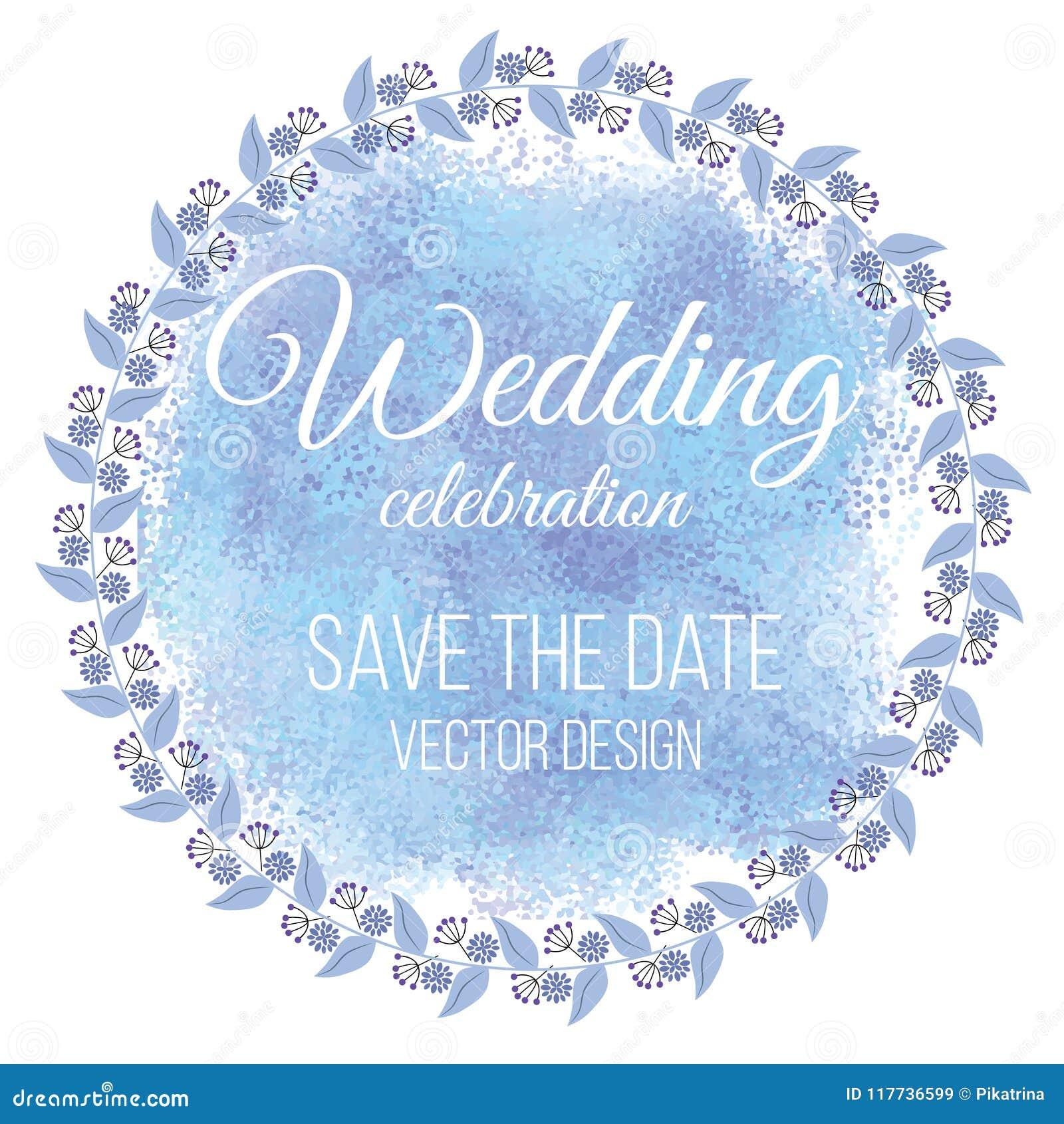 De huwelijkskroon bewaart de Datum Vector illustratie De bloemen van de zomer