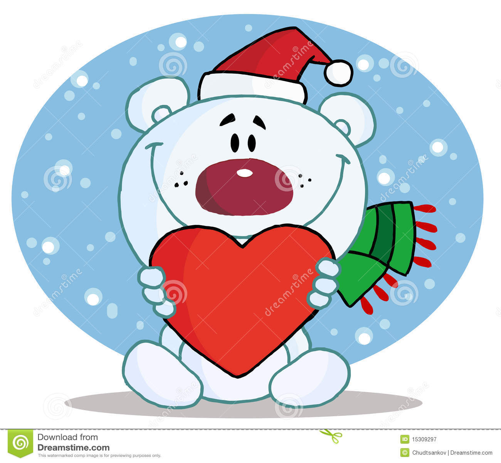 Vrije stock fotografie: de ijsbeer die van kerstmis een hart houdt