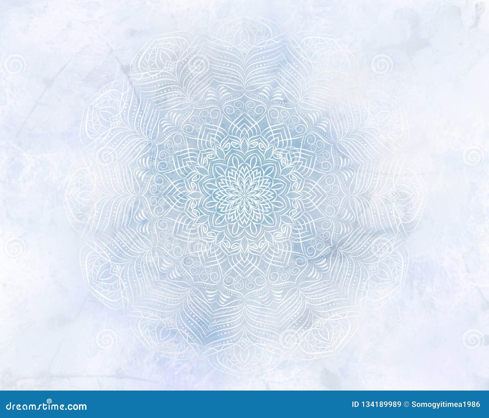 De ijzige lichtblauwe achtergrond van mysticus abstracte mandala