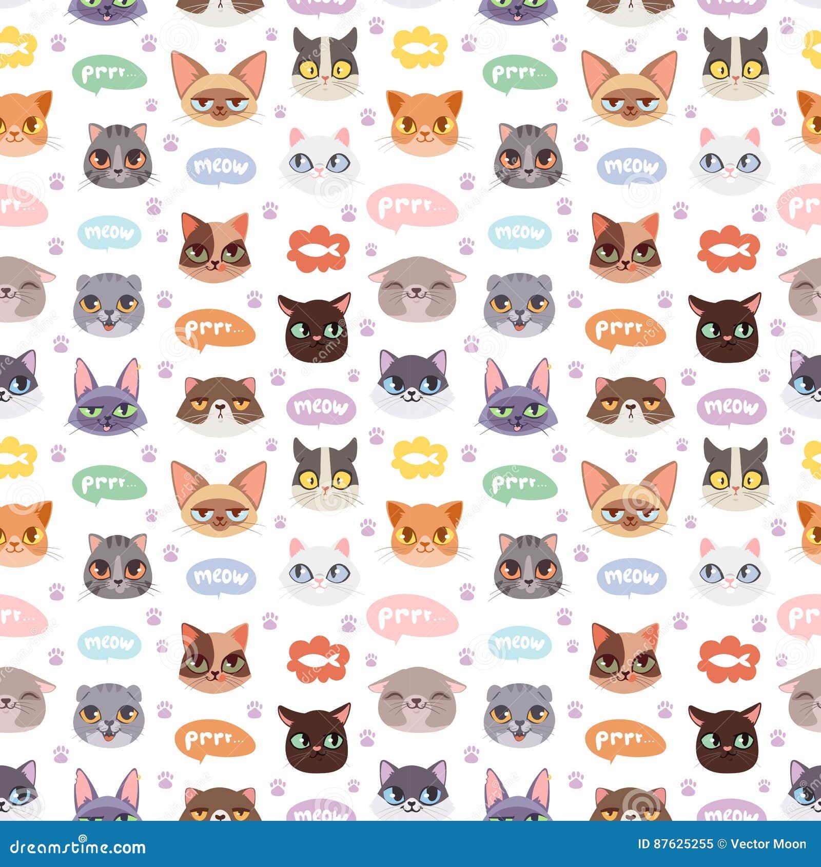 De illustratie naadloos patroon van katten vectorhoofden