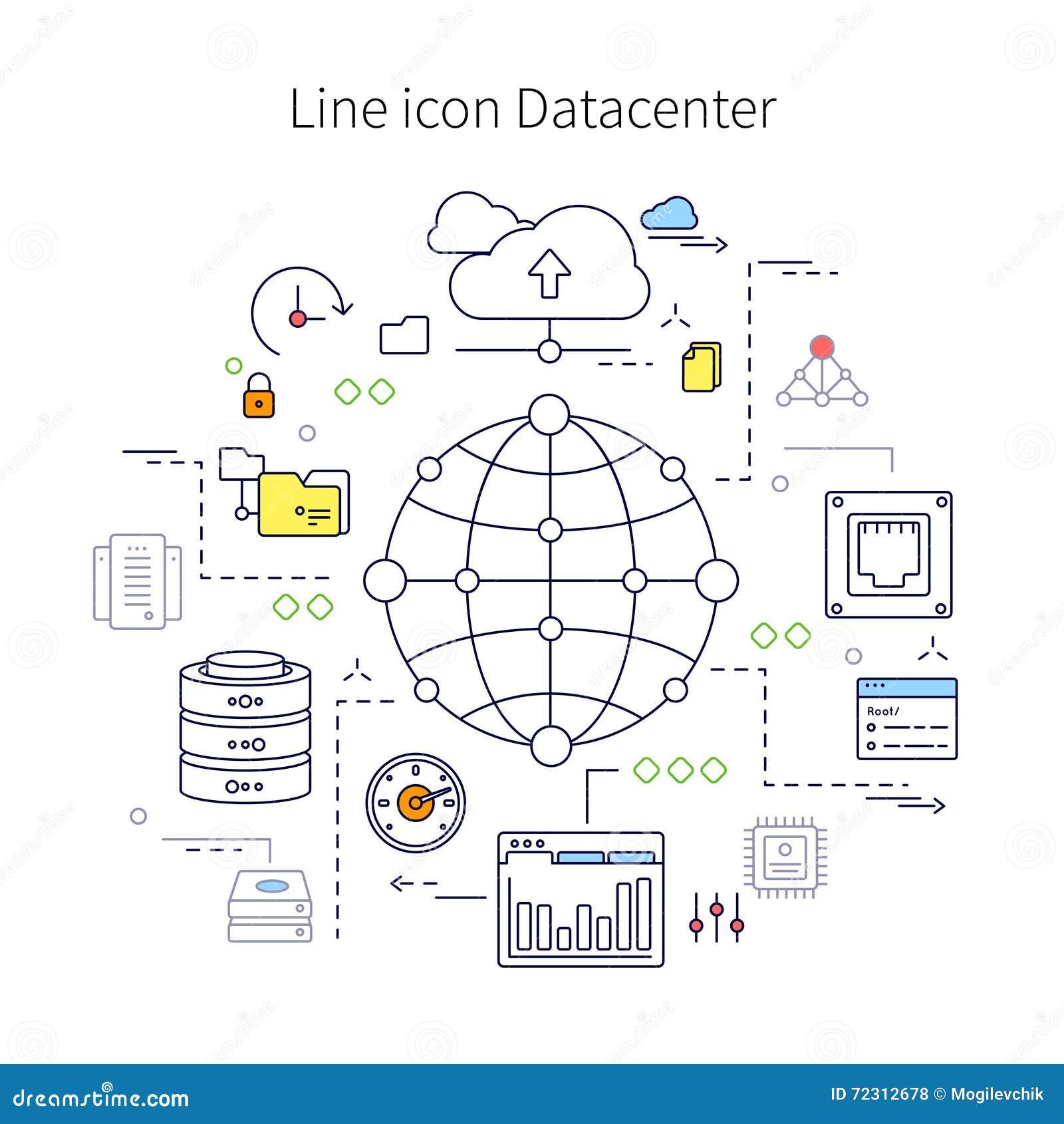 De Illustratie van de Datacenterlijn