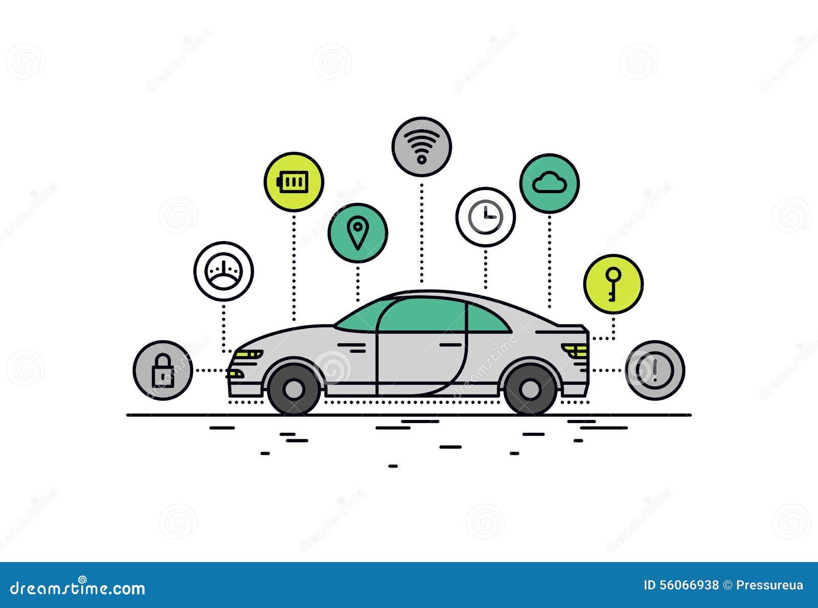 De illustratie van de de lijnstijl van de Driverlessauto