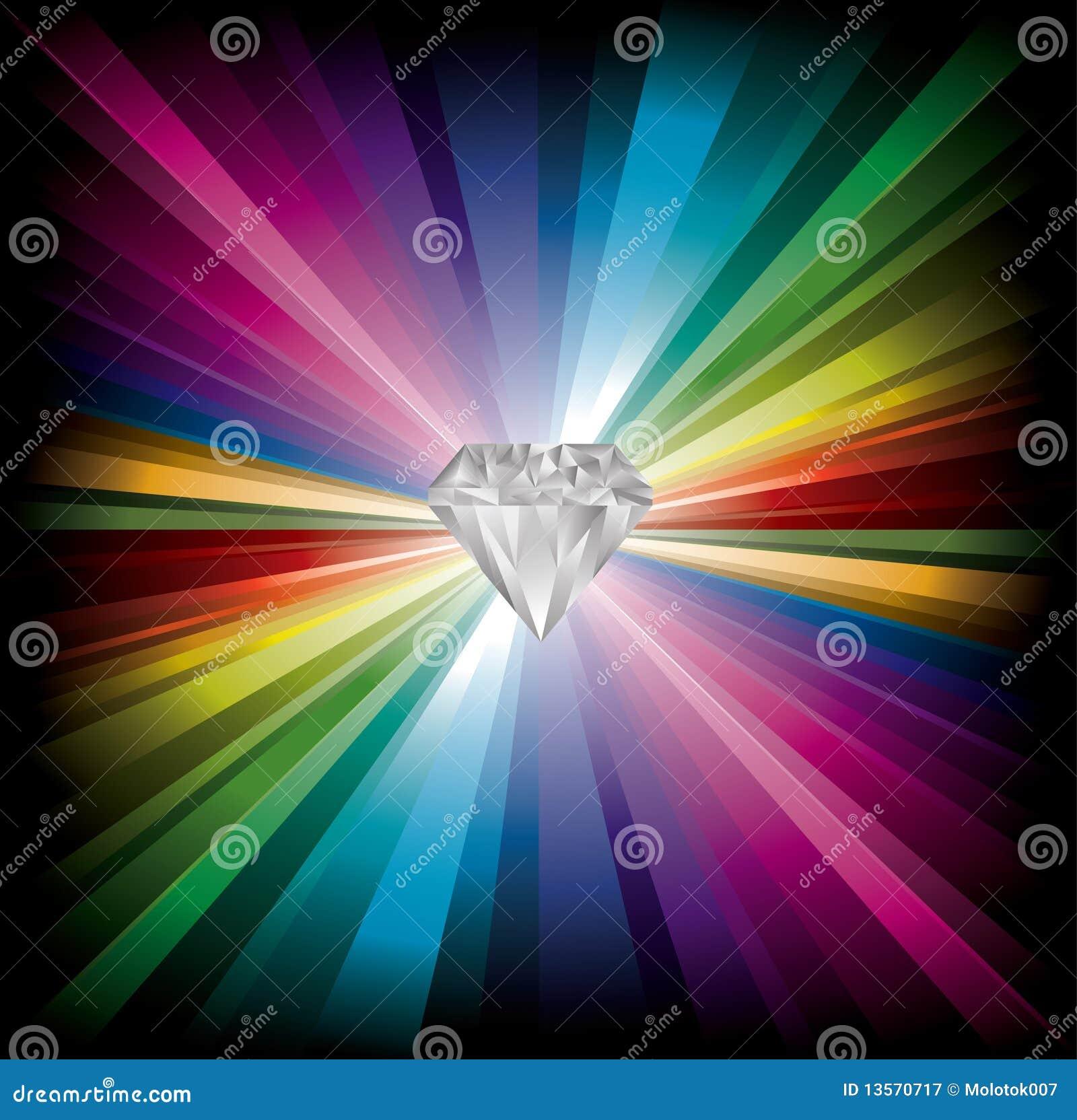 De illustratie van de diamant op regenboogachtergrond