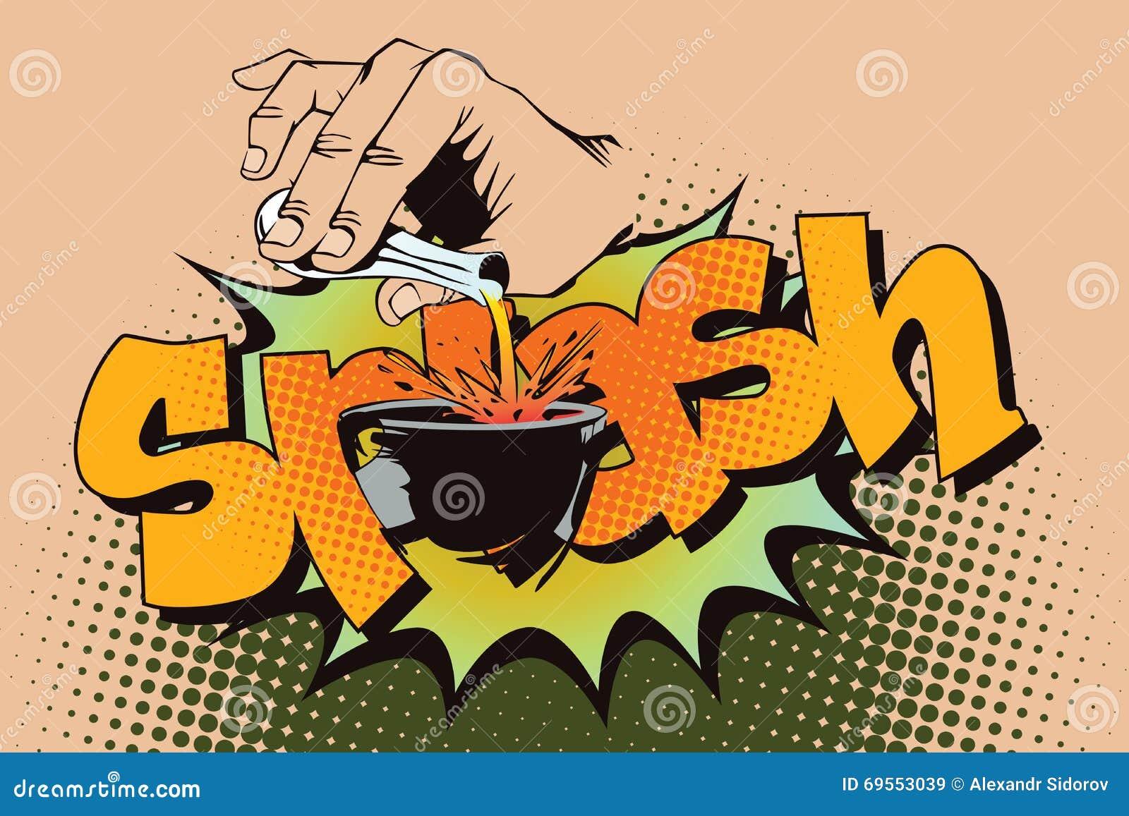 De illustratie van de voorraad Stijl van pop-art en oude strippagina Hand gietende vloeistof van een reageerbuis