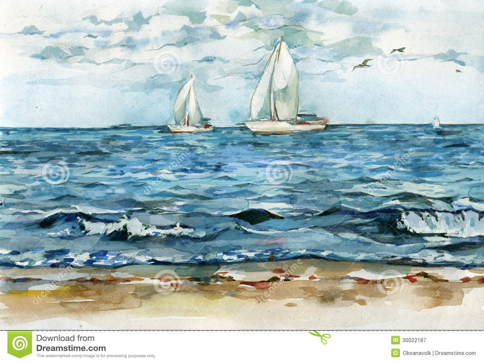 Jachten driftind in de stille blauwe overzeese waterverfillustratie
