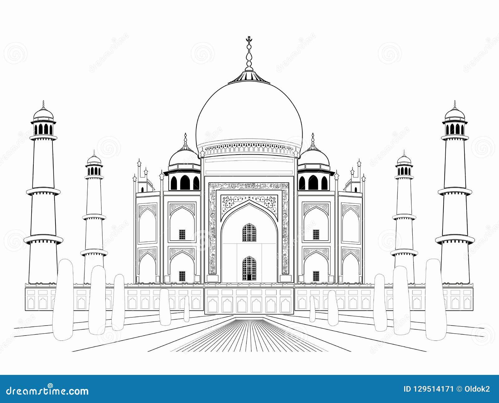 De illustratie van een mahal taj, vector trekt