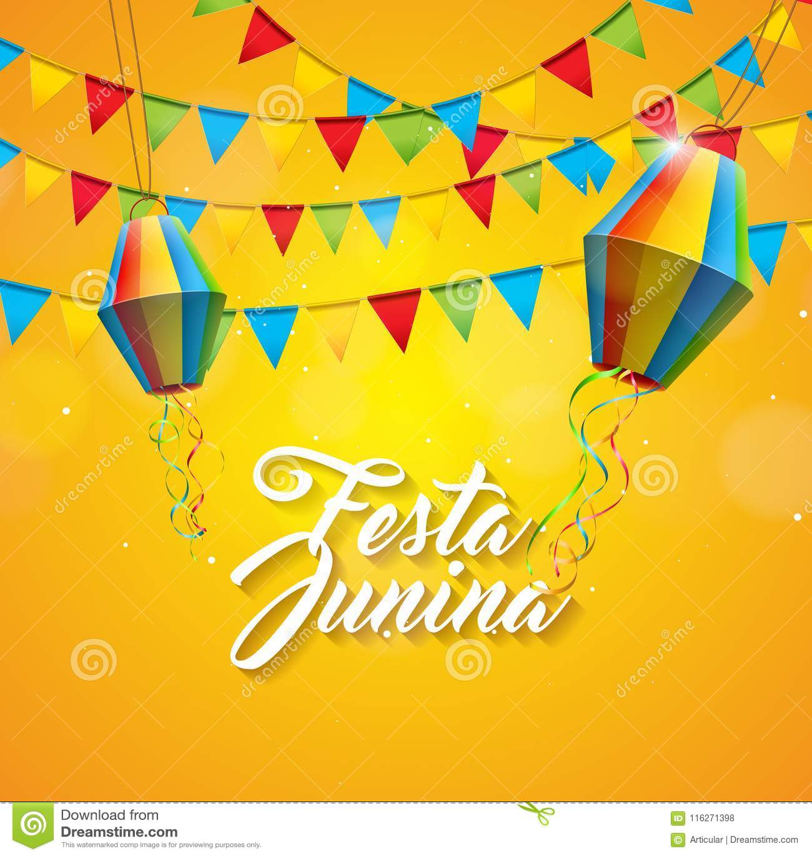 De Illustratie van Festajunina met Partijvlaggen en Document Lantaarn op Gele Achtergrond Vector het Festivalontwerp van Brazilië