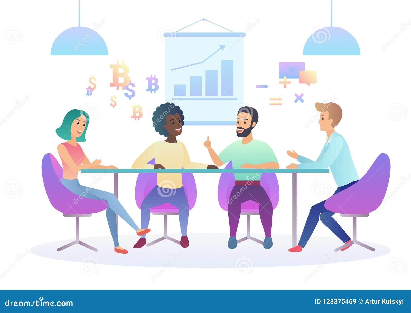 De in illustratie van de gradiëntkleur van creatief coworking centrum Commerciële vergadering in bureau Multicultureel creatief t