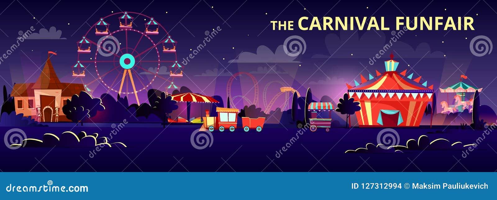 De illustratie van het pretparkbeeldverhaal van Carnaval funfair bij nacht met verlichting van ritten, carrousels en circustent