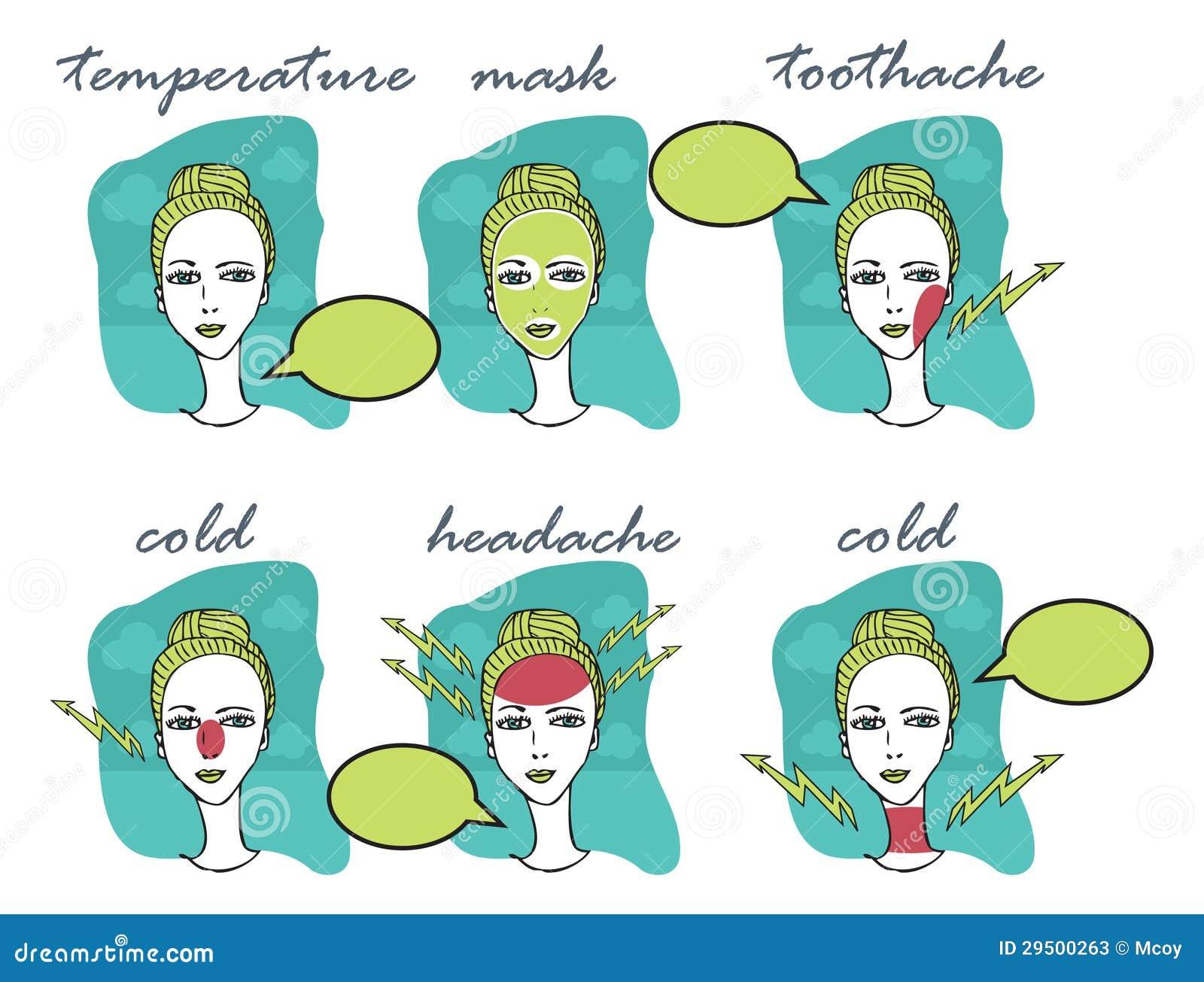 De illustratie van het Seizoen van de koude en van de Griep van Vrouw met hoofdpijn, toothac
