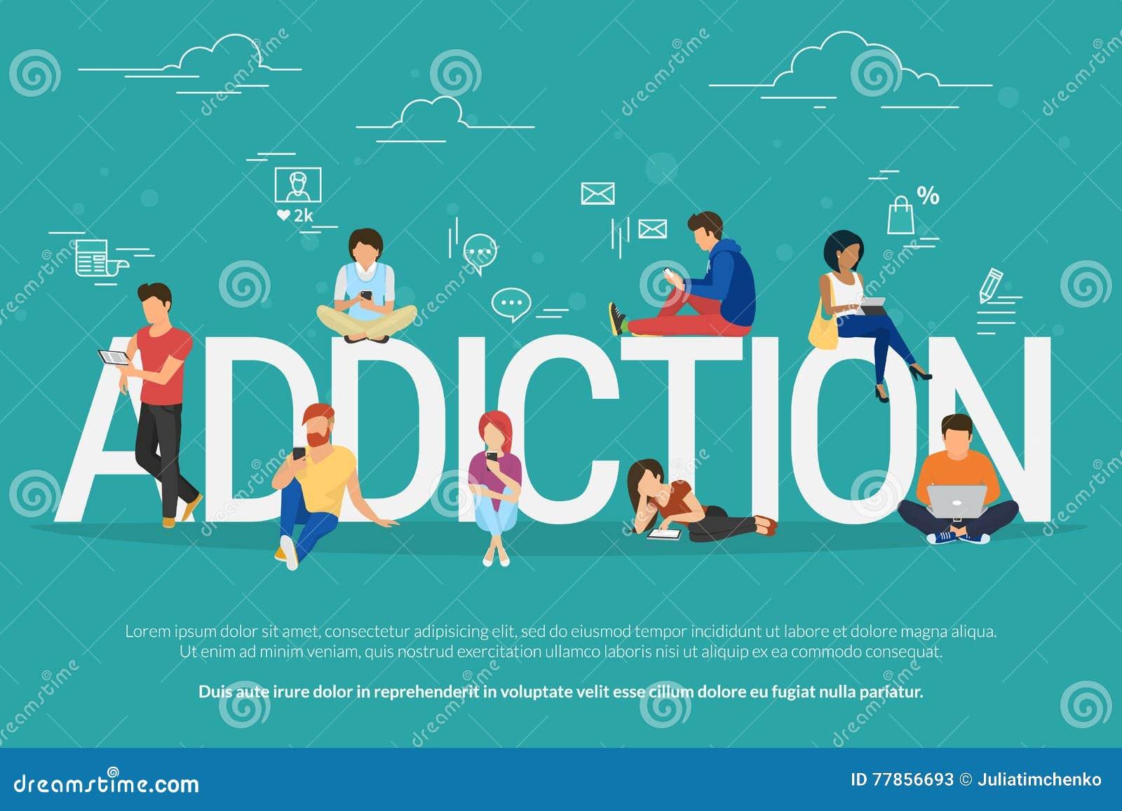 De illustratie van het verslavingsconcept van jongeren die apparaten zoals laptop, smartphone, tabletten met behulp van