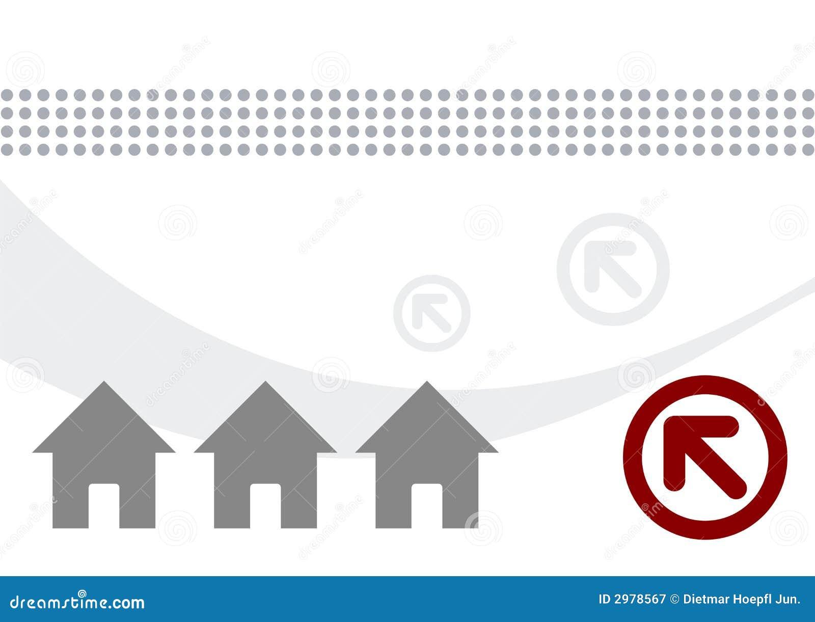 De illustratie van huizen en van pijlen