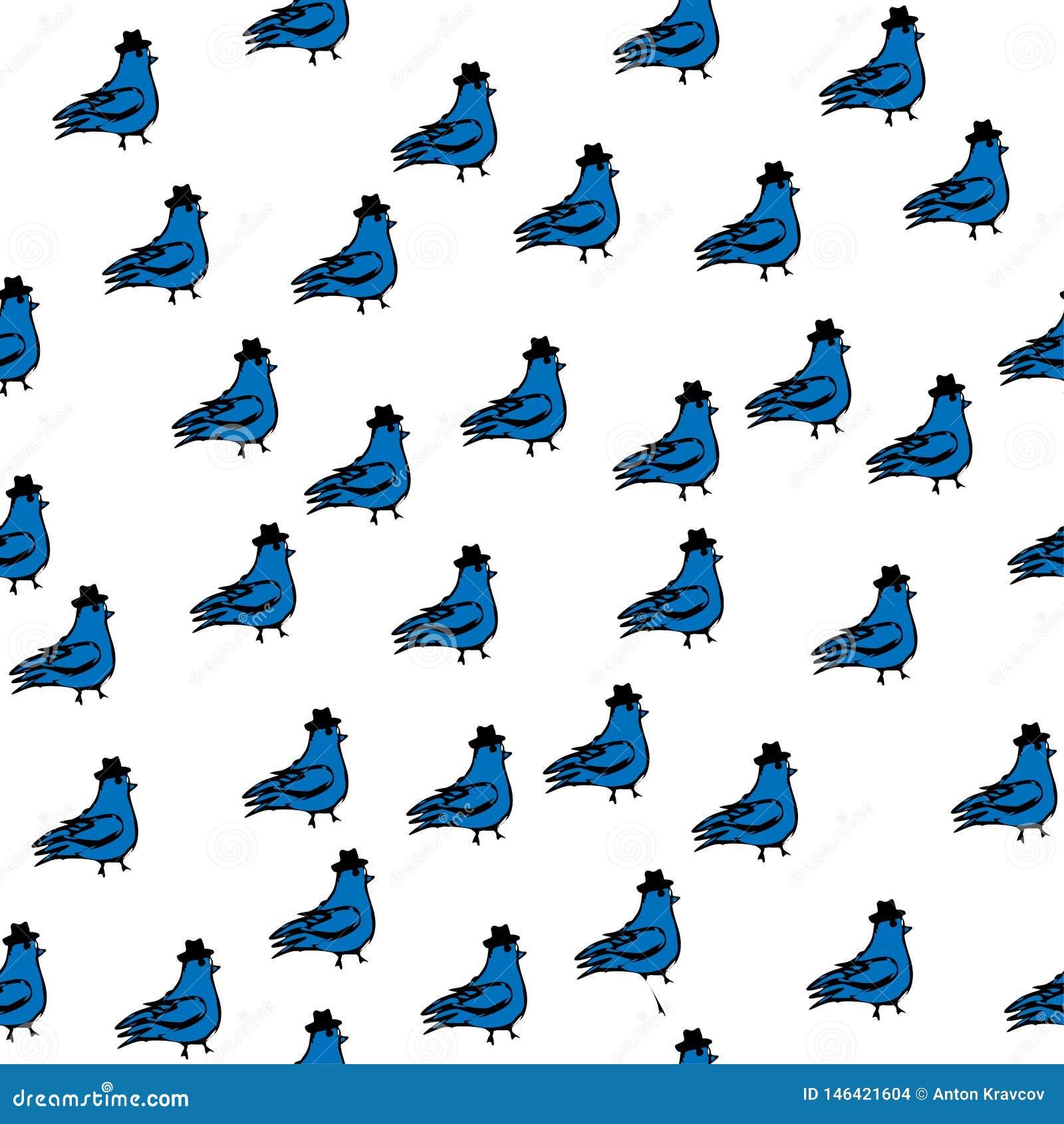De illustratie van de lentevogels, naadloos, patroonduif met cilinder