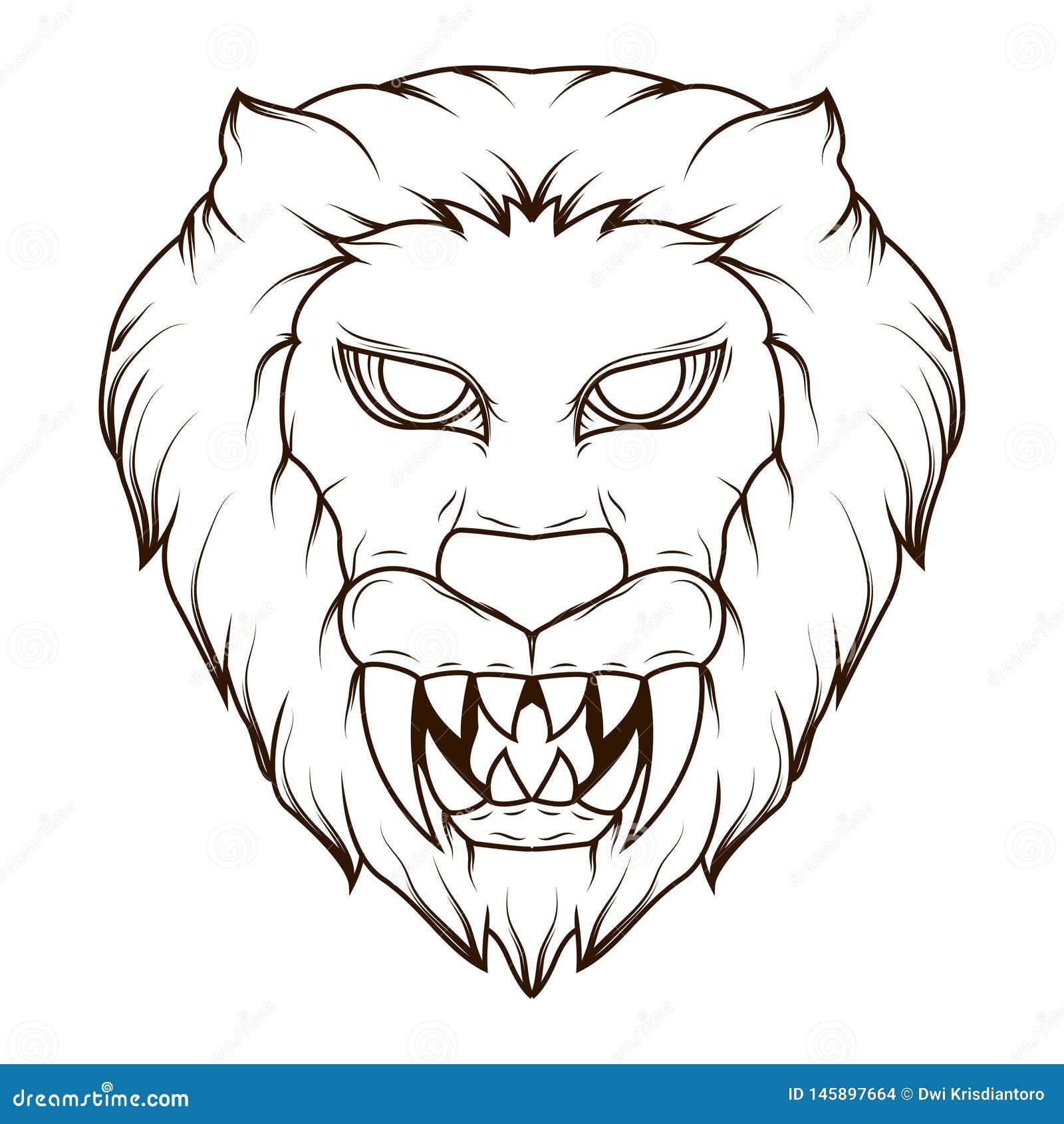De Illustratie van de lijnkunst van een griezelig leeuw hoofddemon met scherpe hoektanden