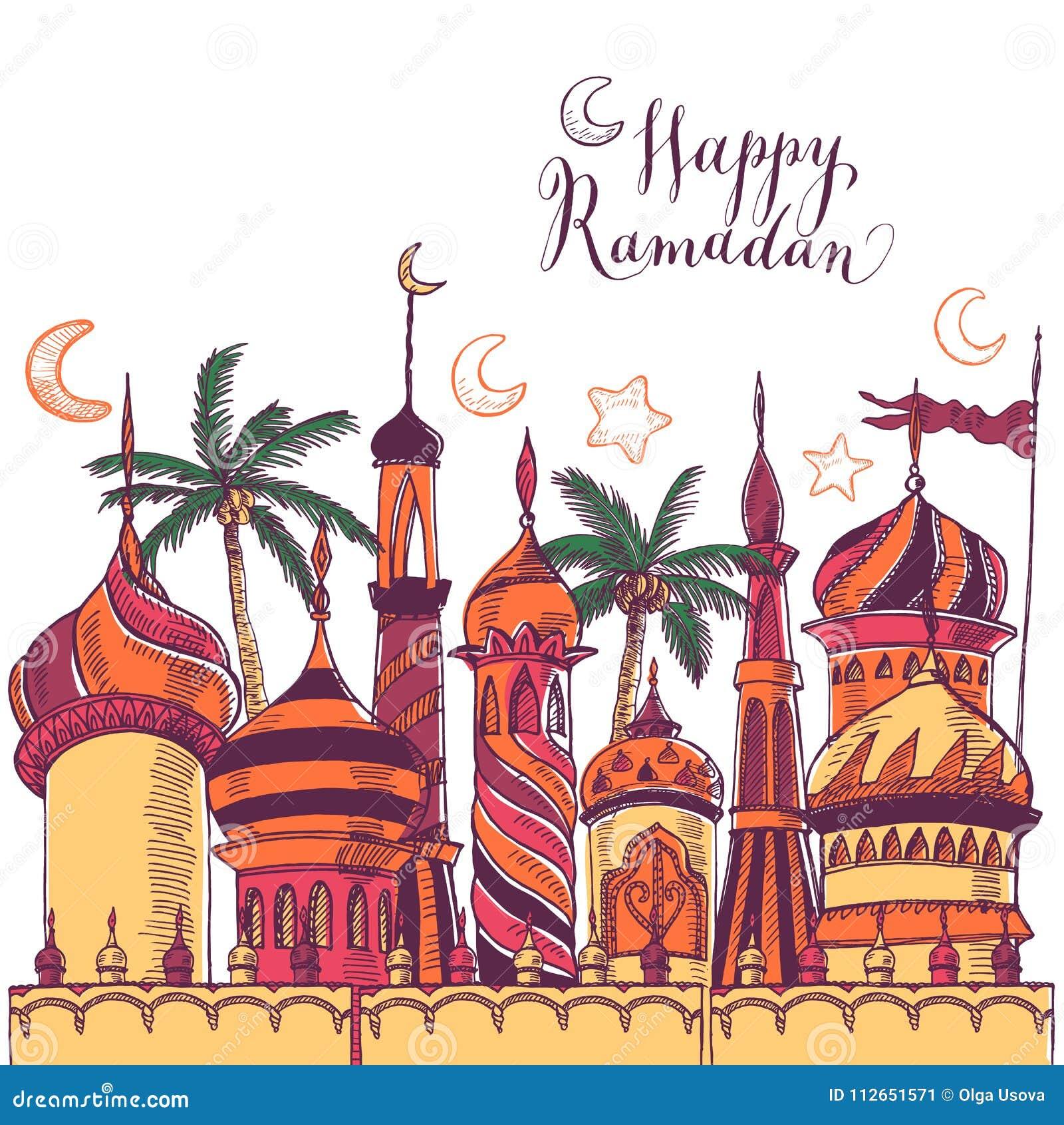 De illustratie van de Ramadangroet met silhouet van moskee Veelkleurige naadloze achtergrond Ramadan Kareem Creatief ontwerp