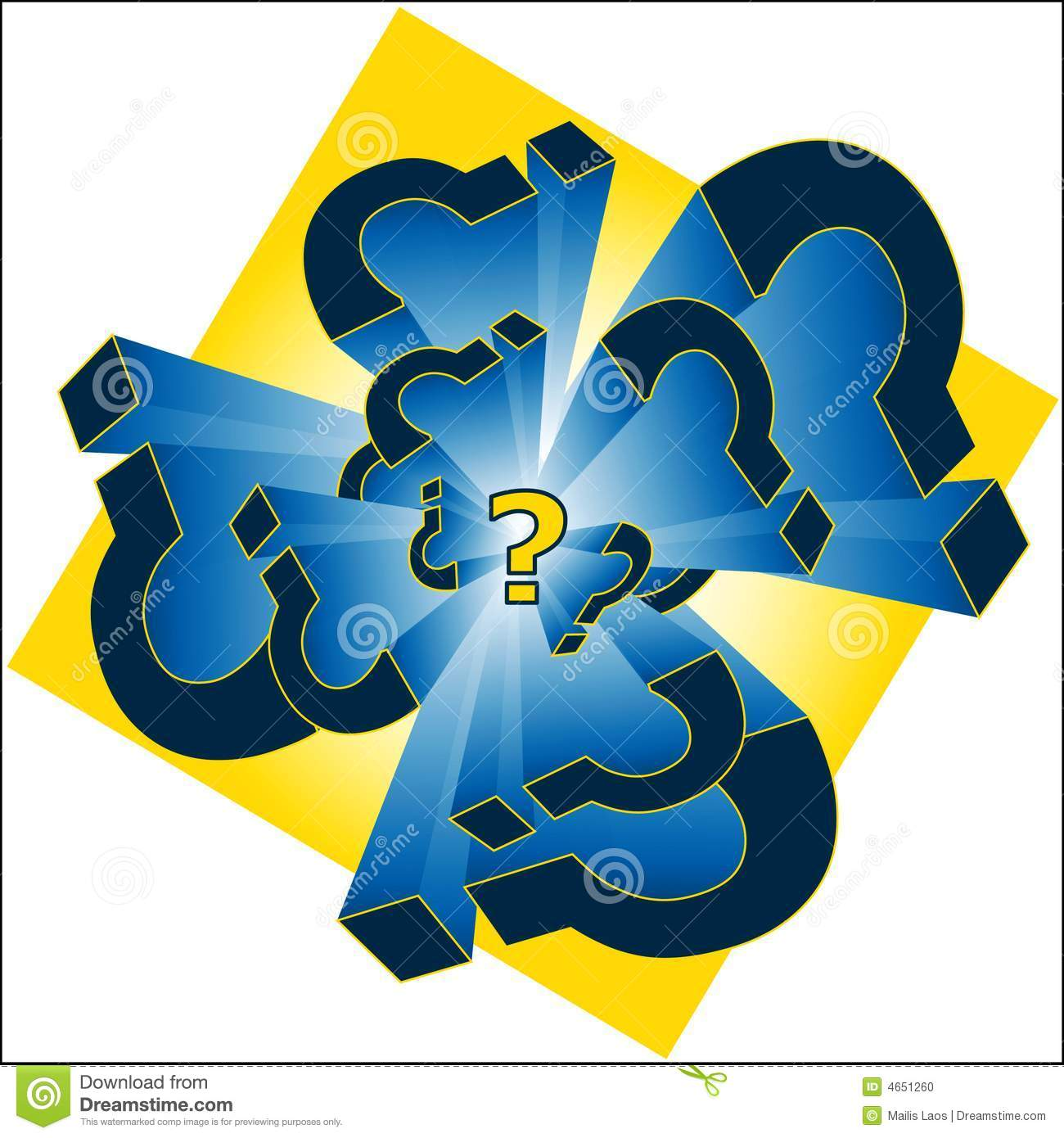 Yellow and Blue Question Mark