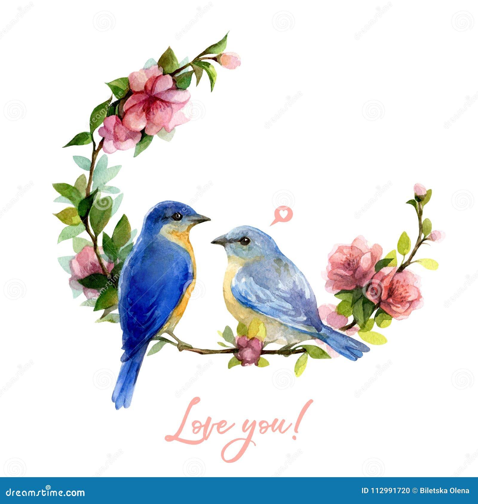 De illustratie van de waterverflente met blauwe die vogel en bloemkroon op witte achtergrond wordt geïsoleerd