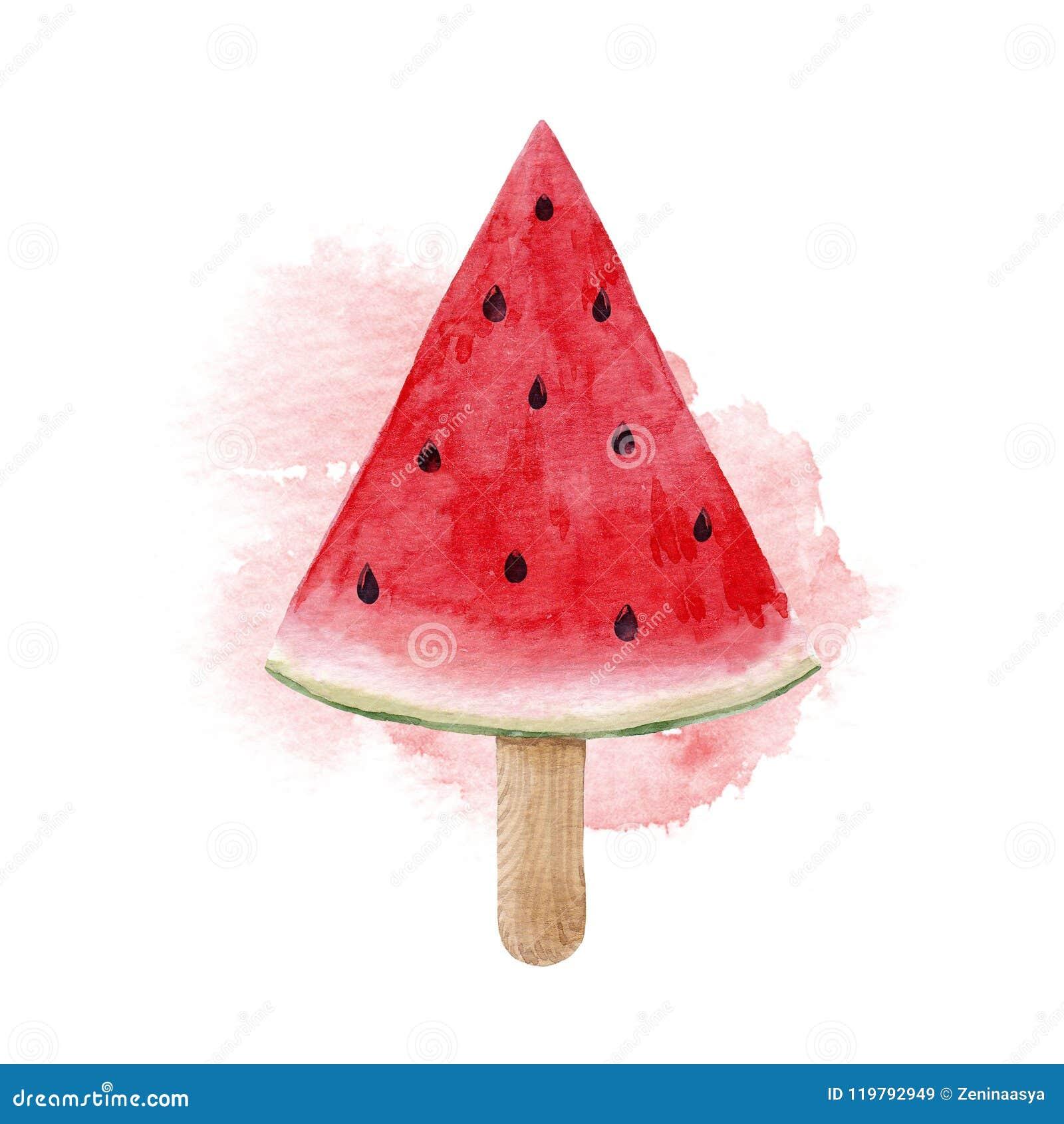 De illustratie van de waterverfwatermeloen