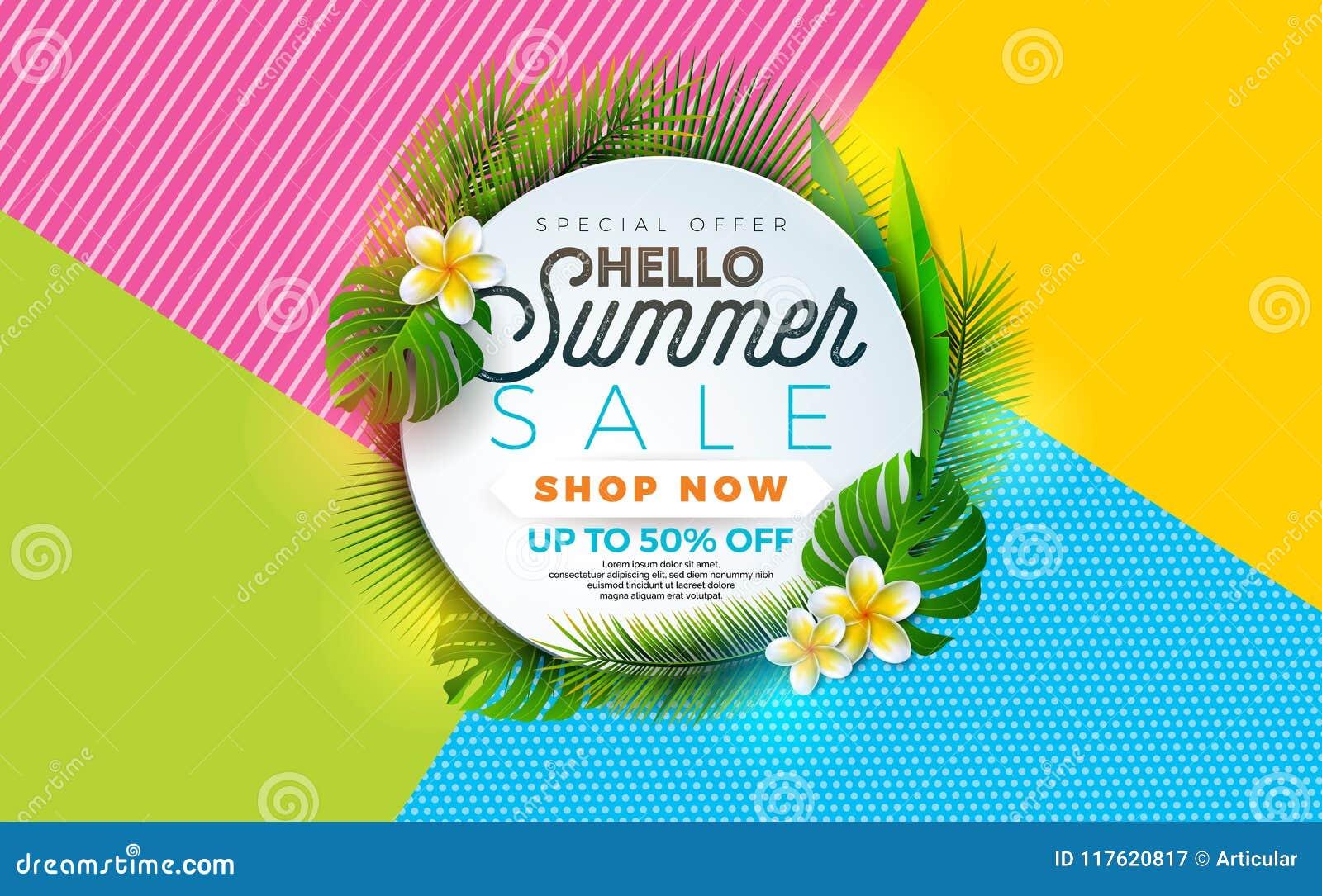 De illustratie van de de zomerverkoop met bloem en tropische installatie op abstracte kleurenachtergrond Het vectormalplaatje van