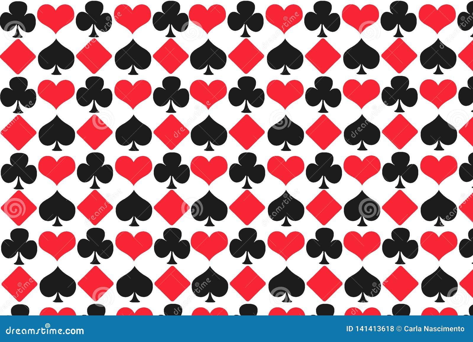 De illustratiepatroon van gokkenkaarten met een witte achtergrond