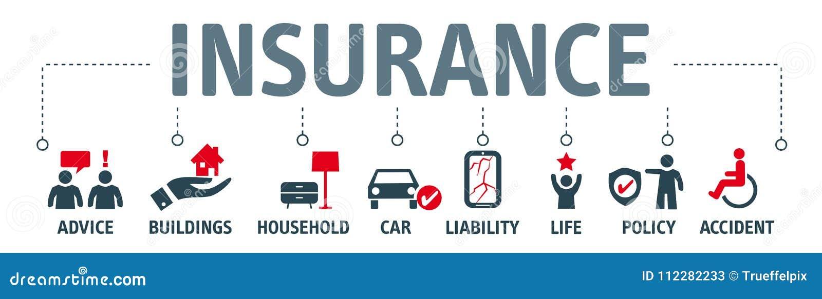 De illustratiepictogrammen van het verzekeringsconcept