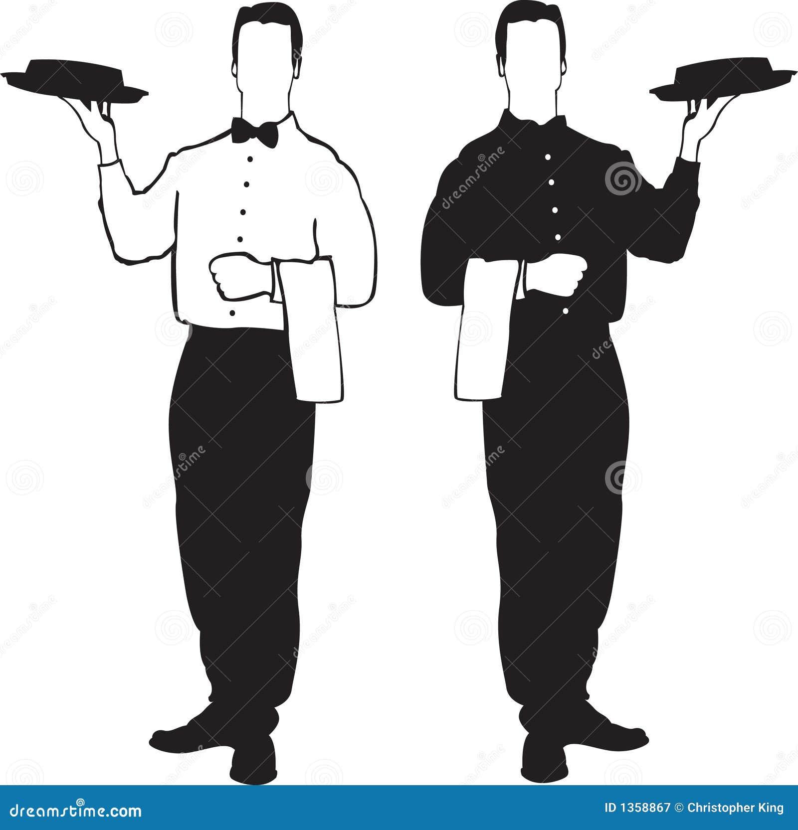 De illustraties van de kelner - de dienst