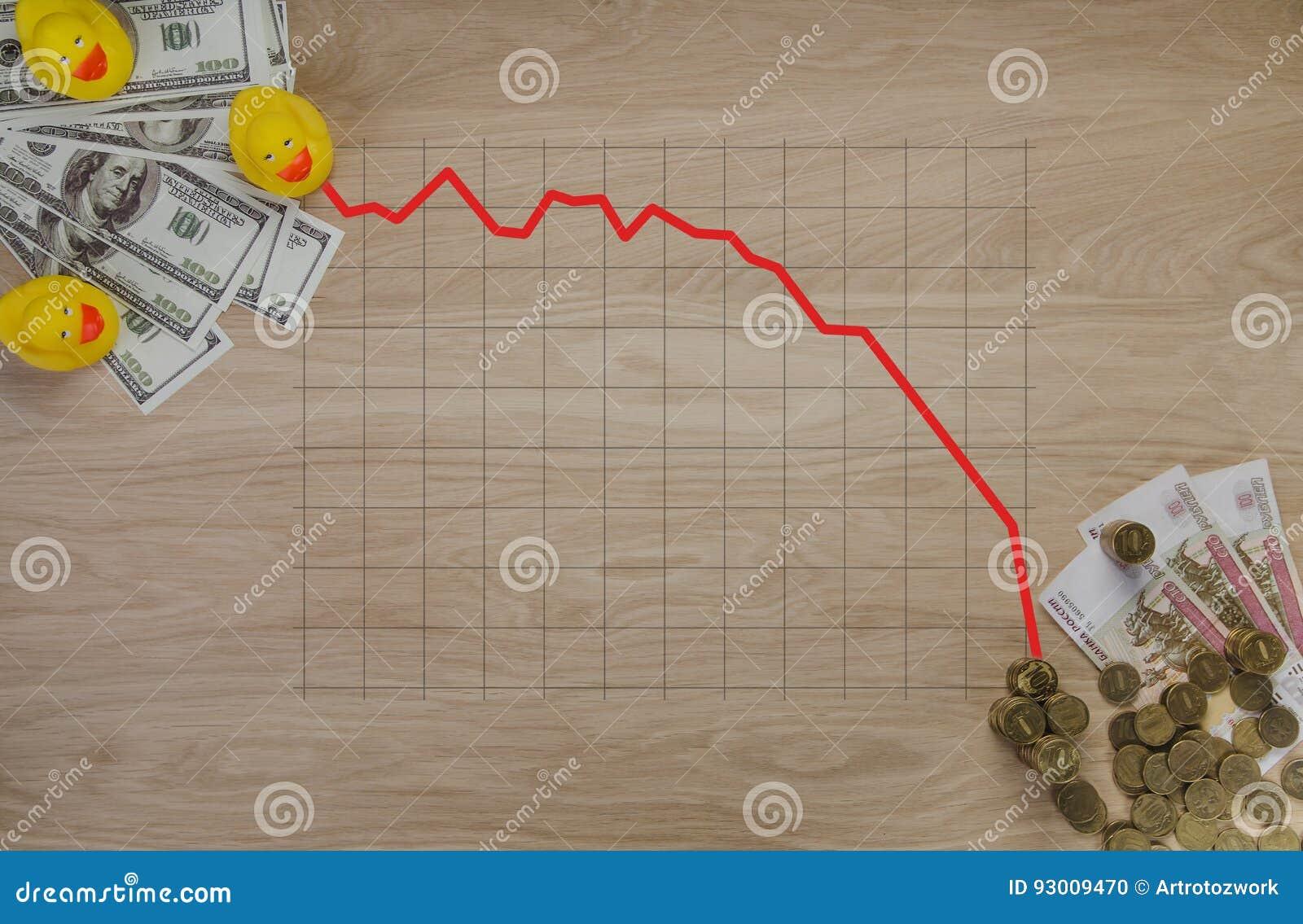 De illustratiesgrafiek op geld en muntstukken het symbool van corruptie in Rusland - eend