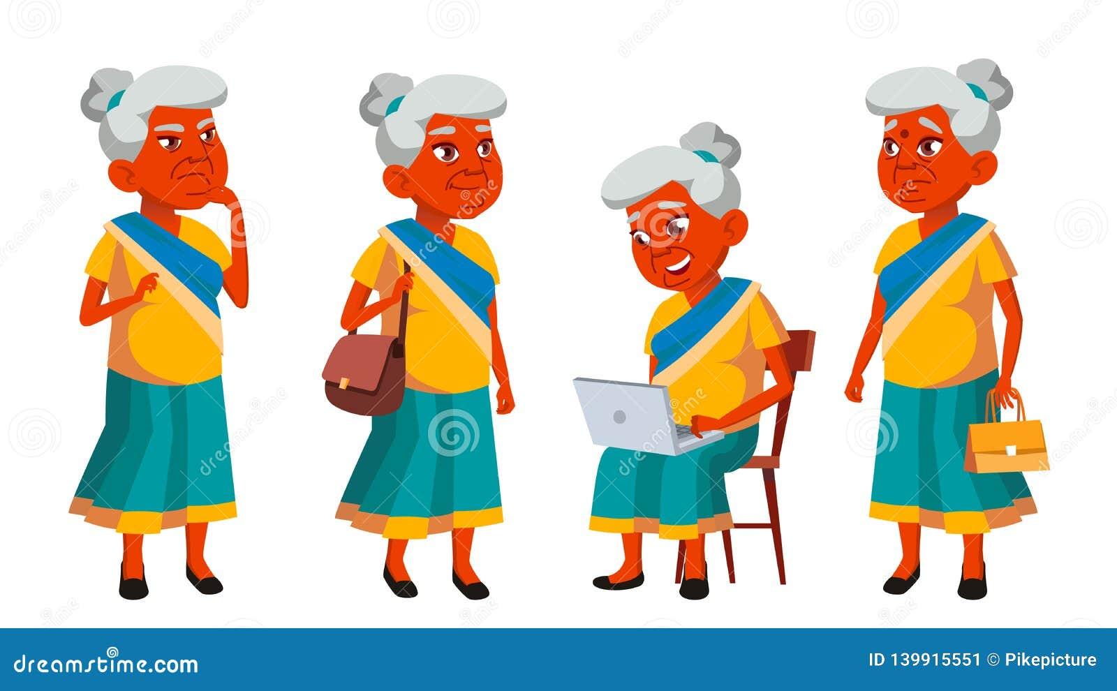 De Indische Oude Vrouw stelt Vastgestelde Vector Bejaarde mensen Hogere persoon oud Vriendschappelijke Grootouder Banner, Vlieger