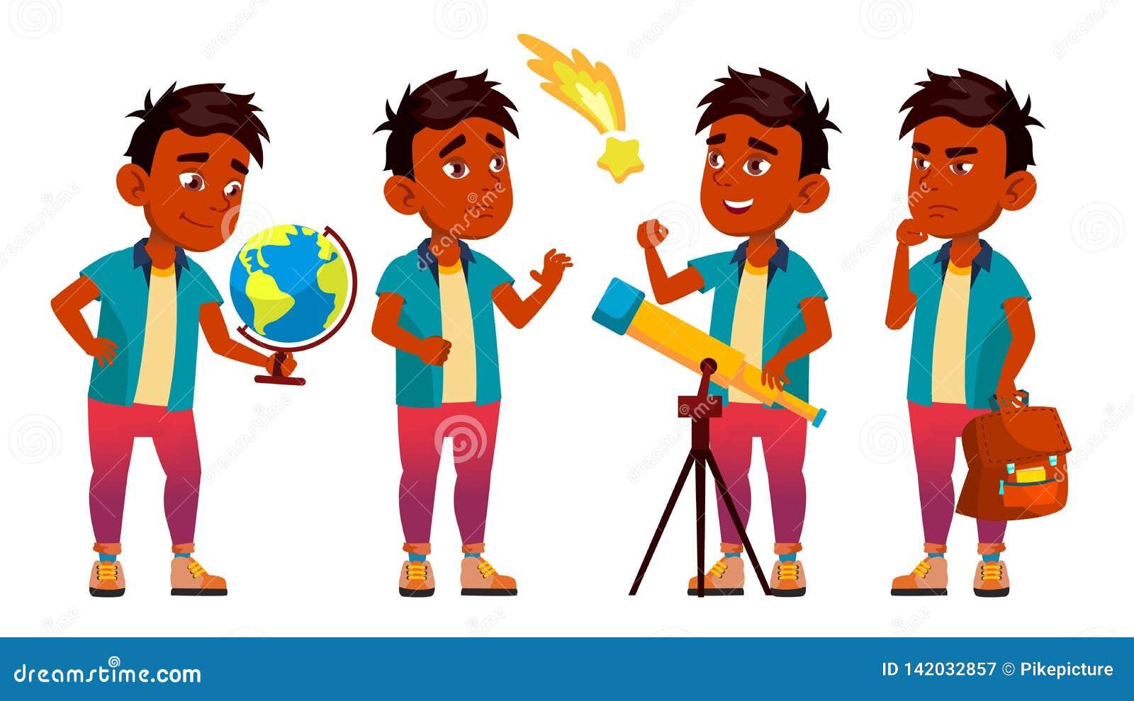 De Indische Vastgestelde Vector van de Jongensschooljongen Lage schoolkind astronomie Ontdek Planeet Student Activity educate Jon
