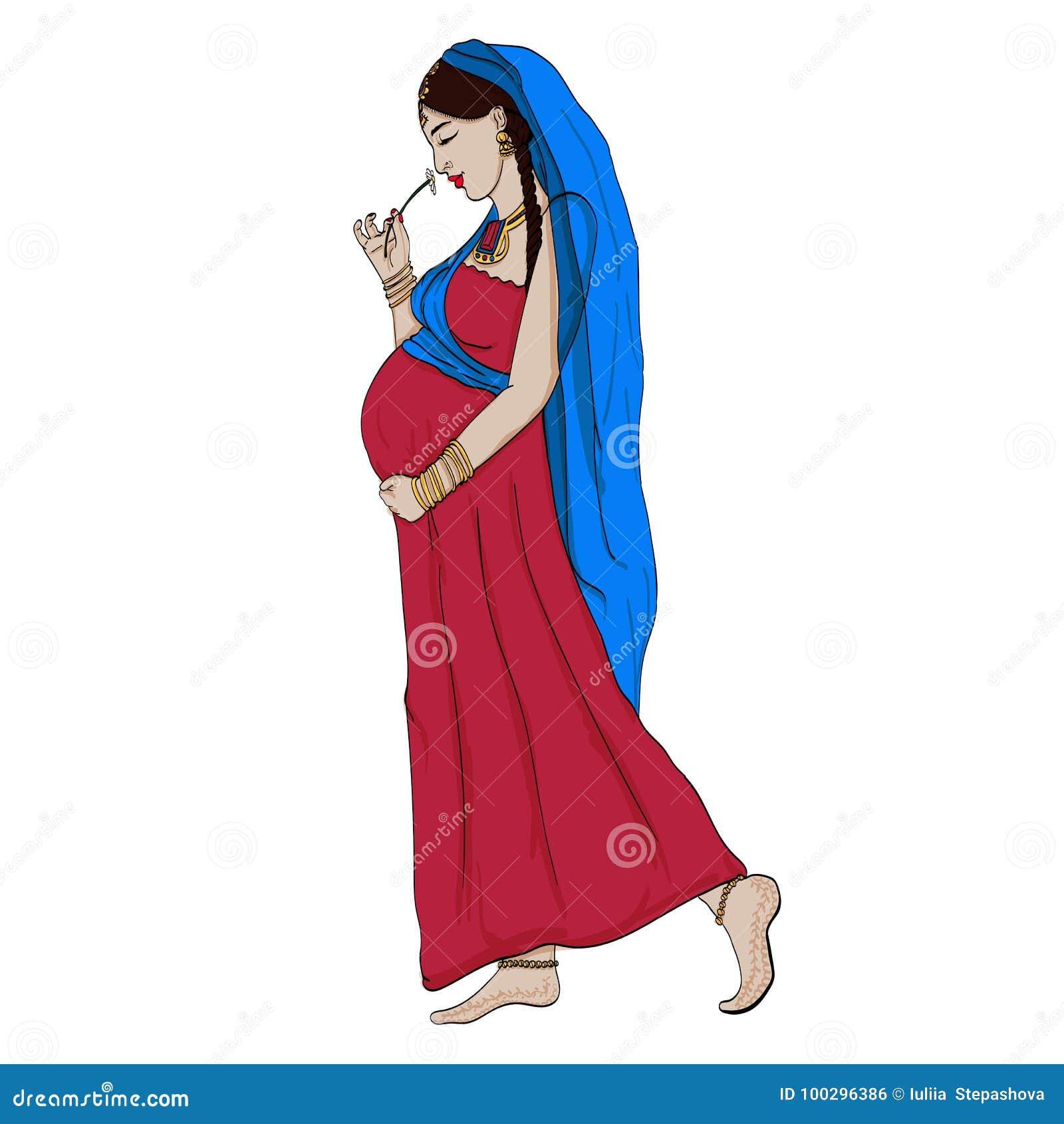 Design Zwangerschapskleding.De Indische Zwangere Vrouw In Zwangerschapskleding Wordt Voorbereid