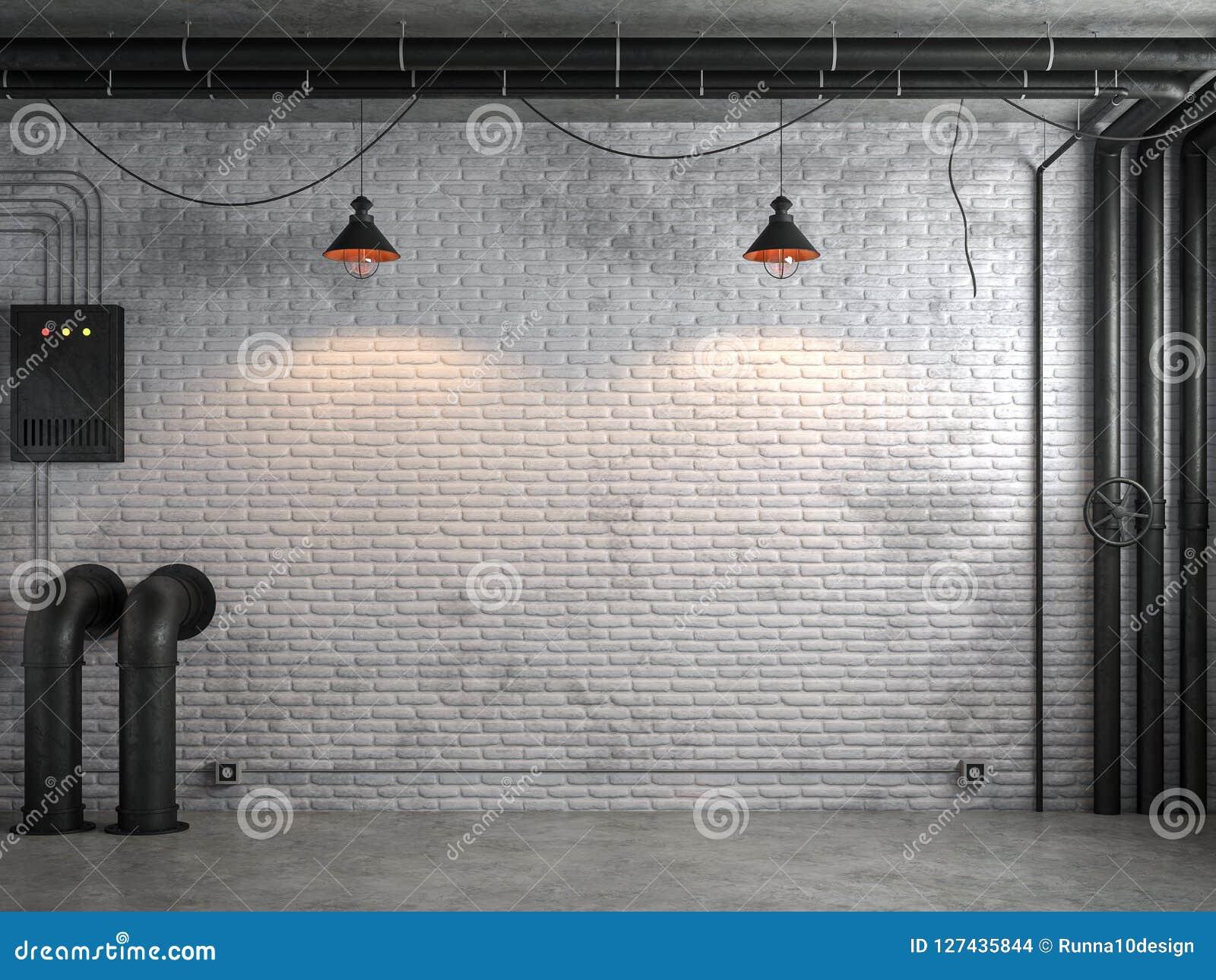 De industriële lege ruimte van de zolderstijl met witte 3d bakstenen muur geeft terug