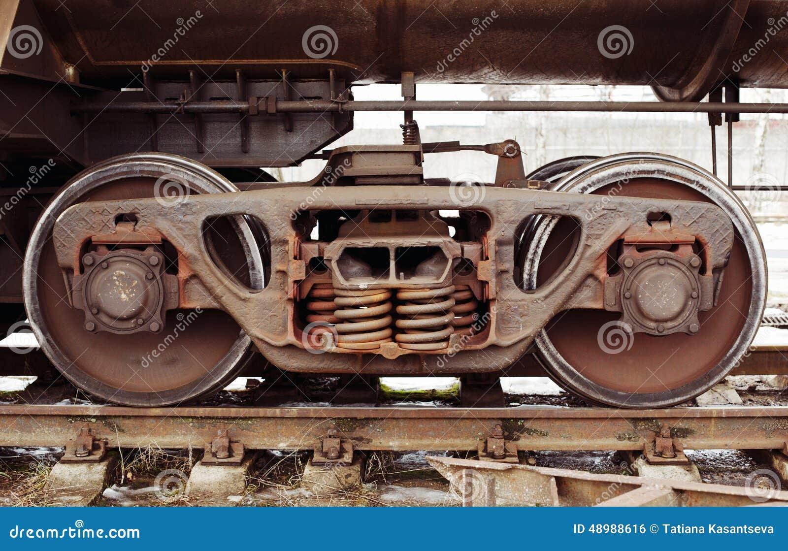 Industriele Wielen Oud.De Industriele Wielen Van De Spoorauto Stock Foto Afbeelding