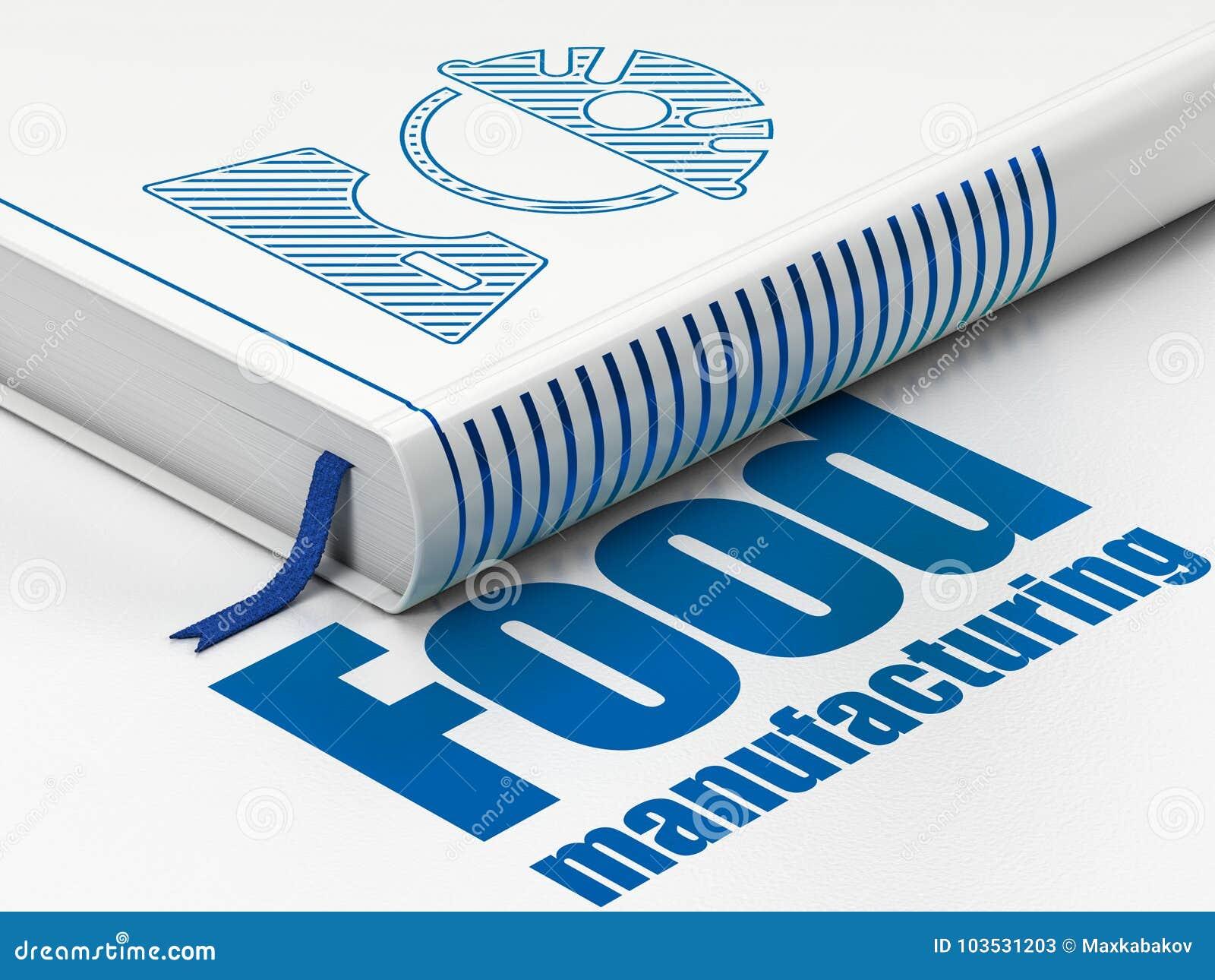 De industrieconcept: de Arbeider van de boekfabriek, Voedsel Productie op witte achtergrond